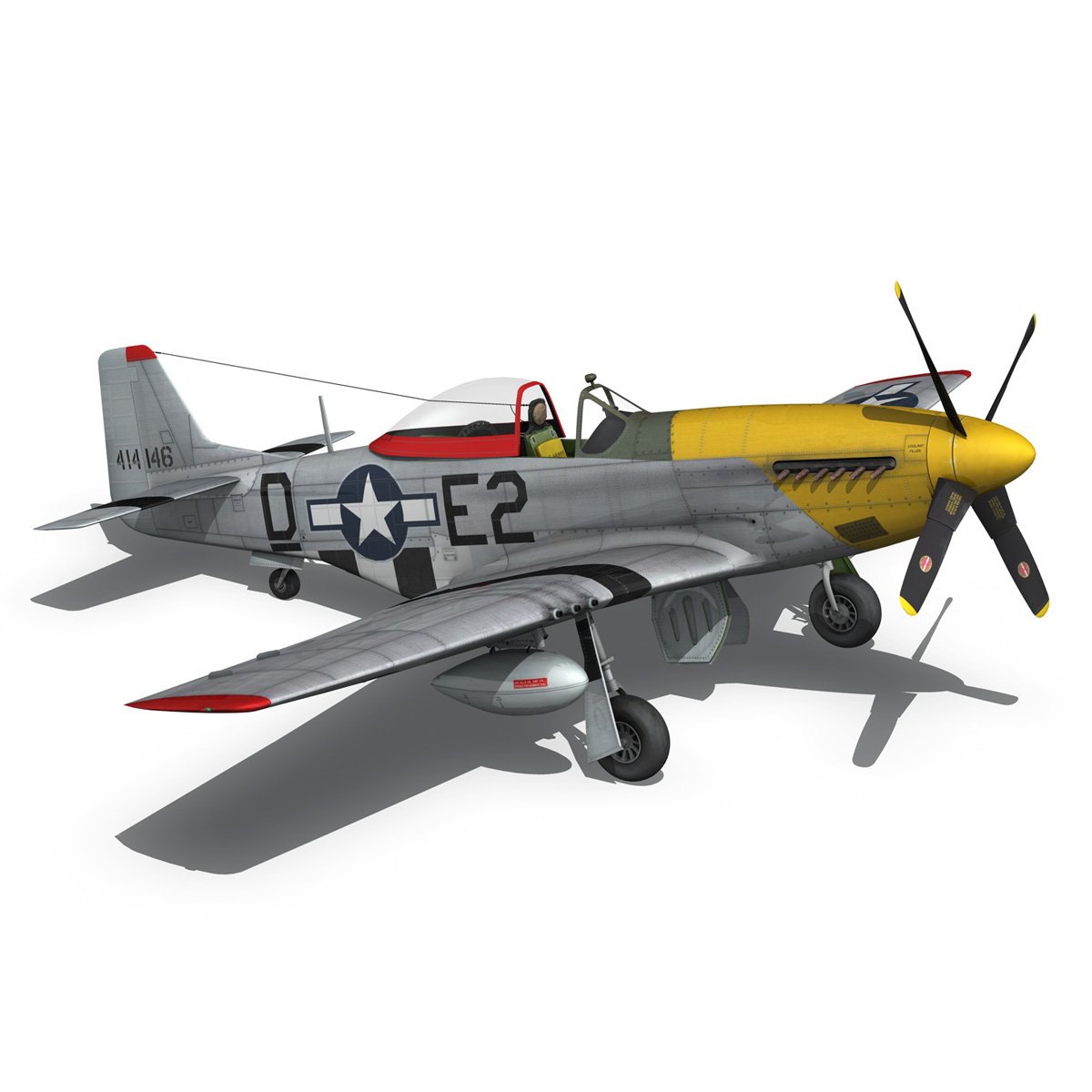 north american p-51d – mustang – detroit miss 3d model 3ds fbx c4d lwo obj 267605