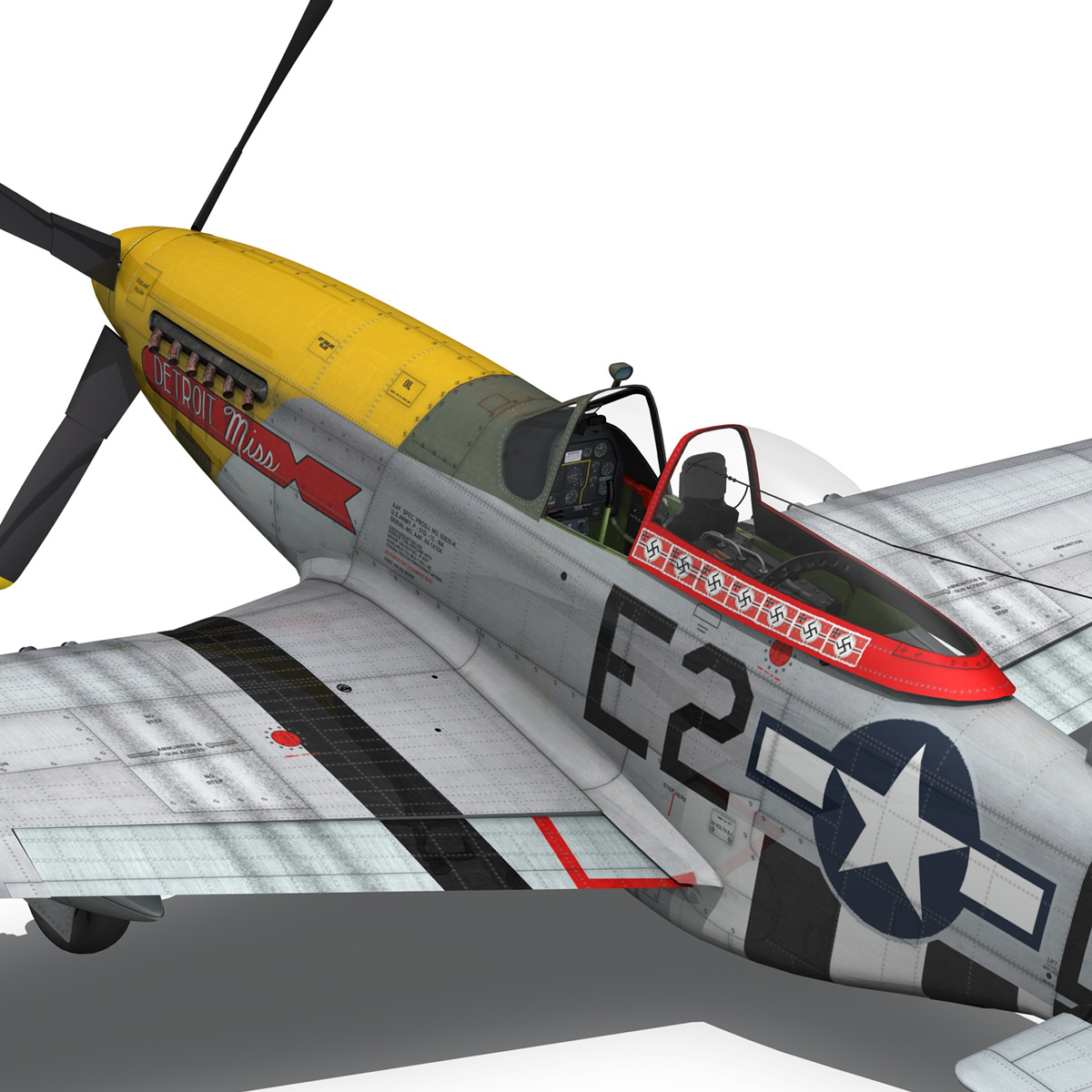 north american p-51d – mustang – detroit miss 3d model 3ds fbx c4d lwo obj 267608