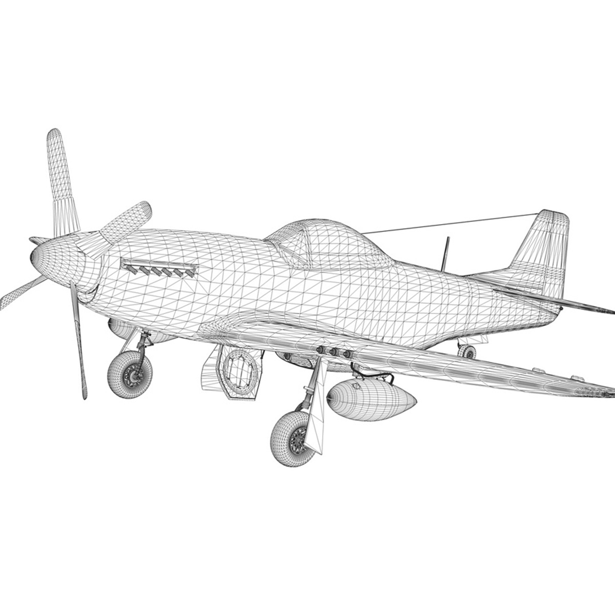 north american p-51d – mustang – detroit miss 3d model 3ds fbx c4d lwo obj 267610