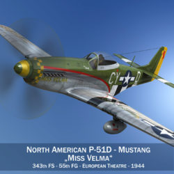 North American P-51D - Mustang - Miss Velma 3d model 0