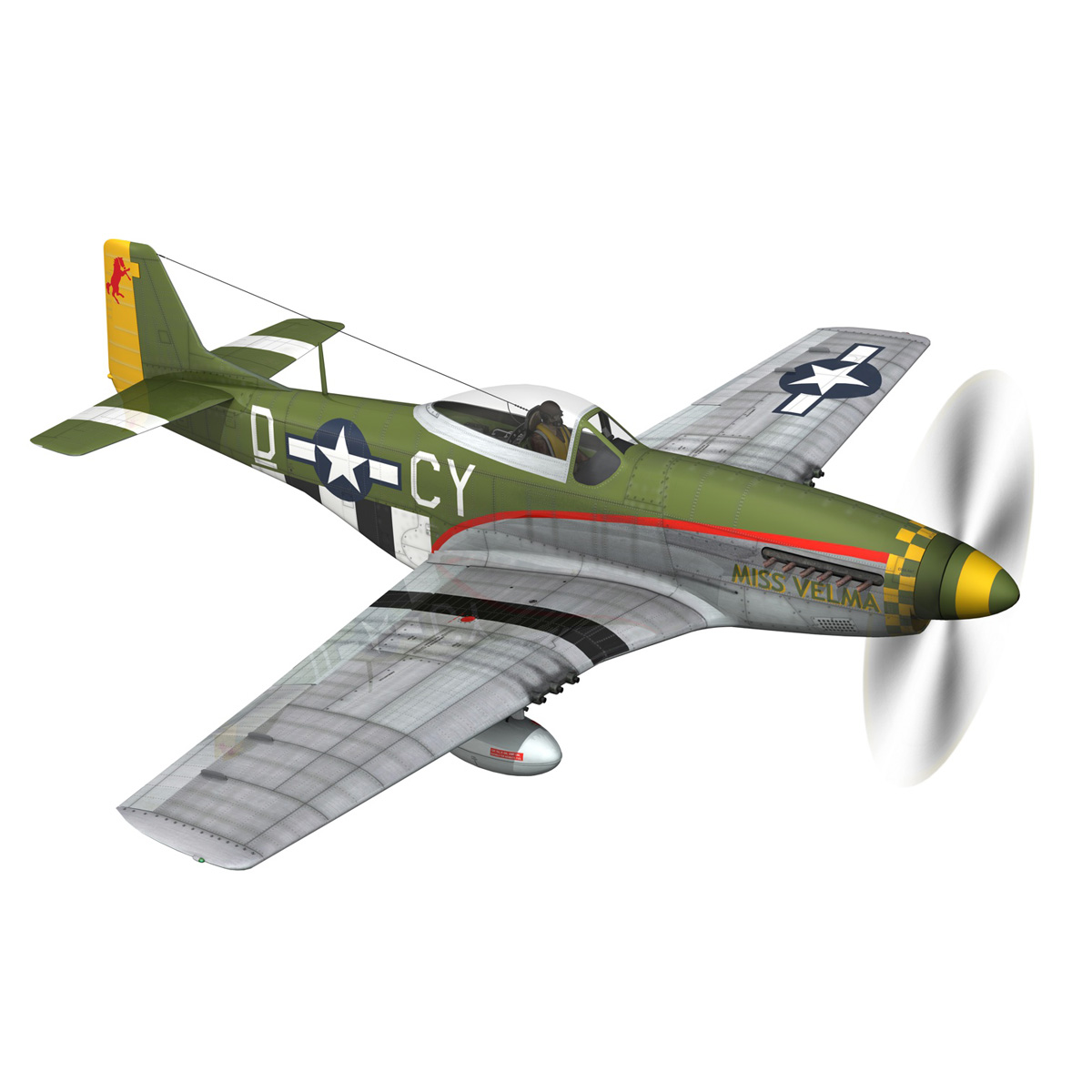 north american p-51d – mustang – miss velma 3d model 3ds fbx c4d lwo obj 267623