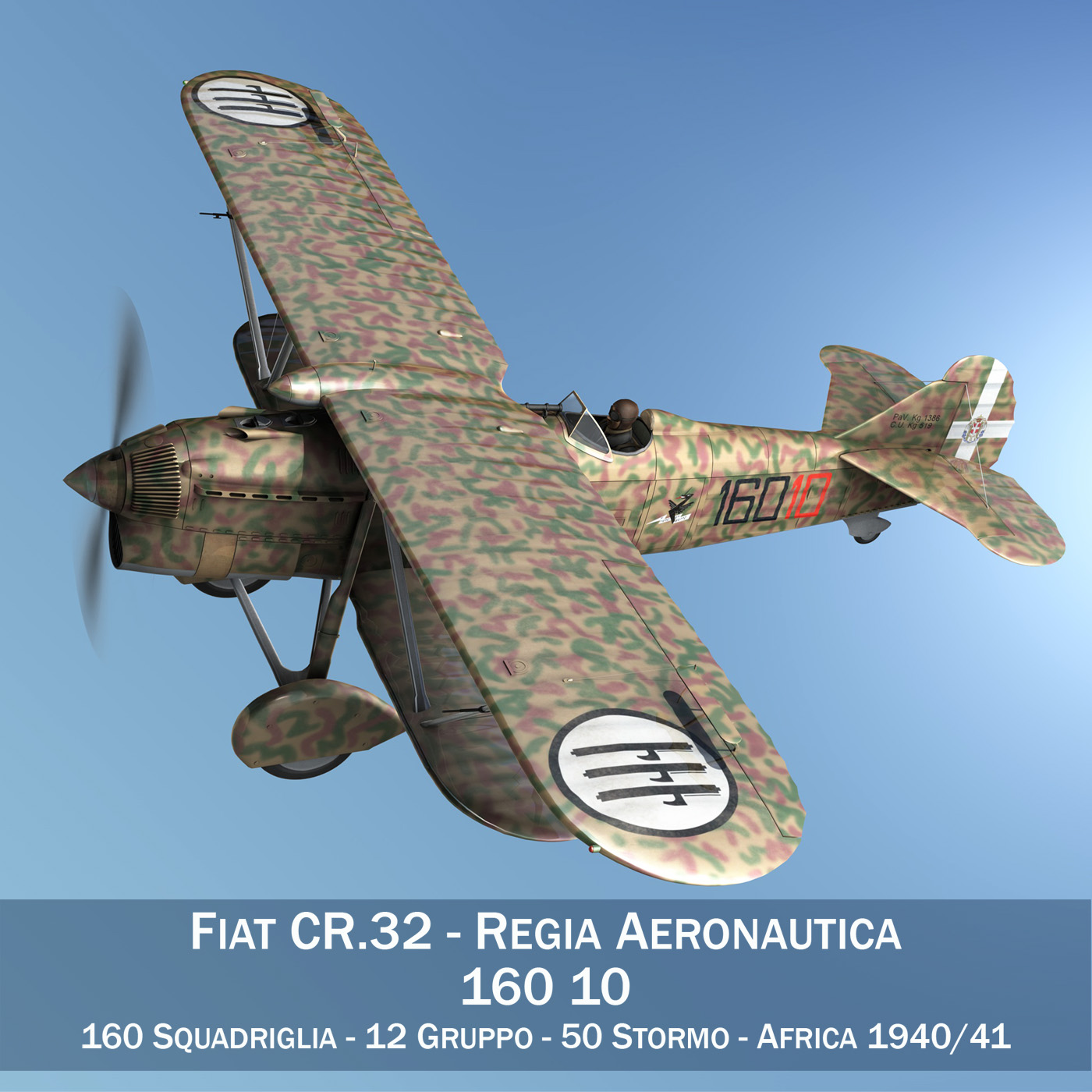 fiat cr.32 – italy airforce – 160 squadriglia 3d model fbx c4d lwo obj 268102