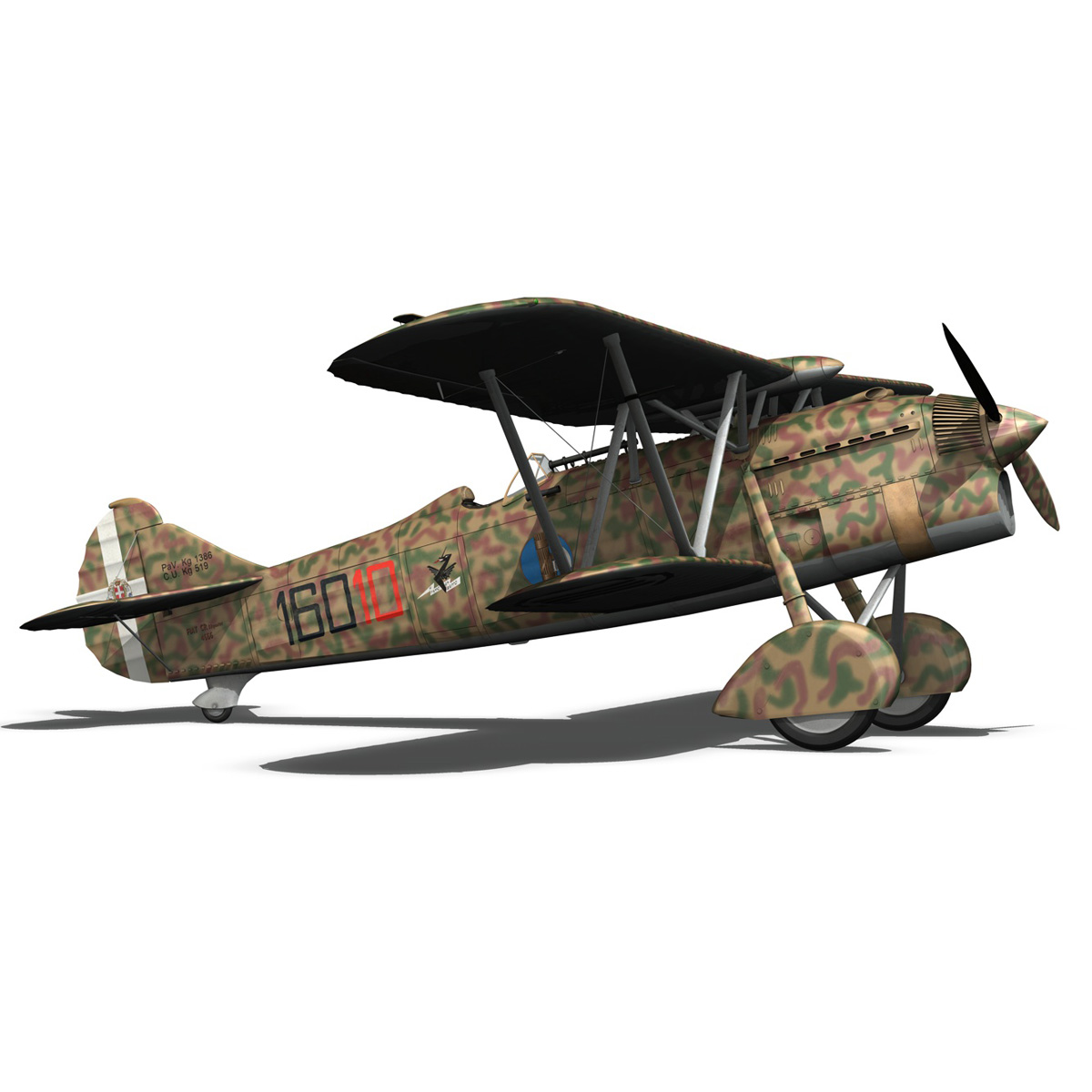 fiat cr.32 – italy airforce – 160 squadriglia 3d model fbx c4d lwo obj 268114