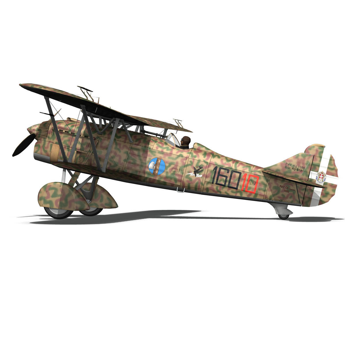 fiat cr.32 – italy airforce – 160 squadriglia 3d model fbx c4d lwo obj 268118