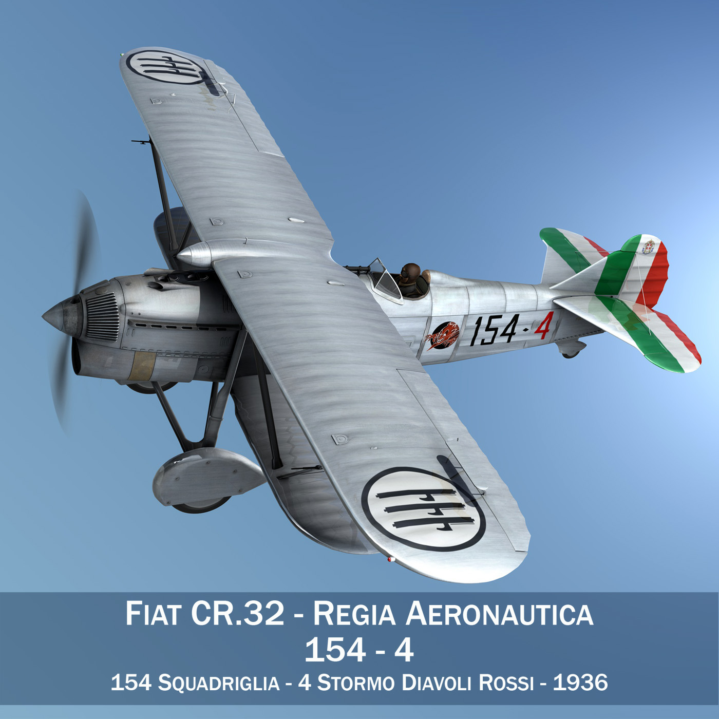 fiat cr.32 – italy airforce – 154 squadriglia 3d model fbx c4d lwo obj 268128
