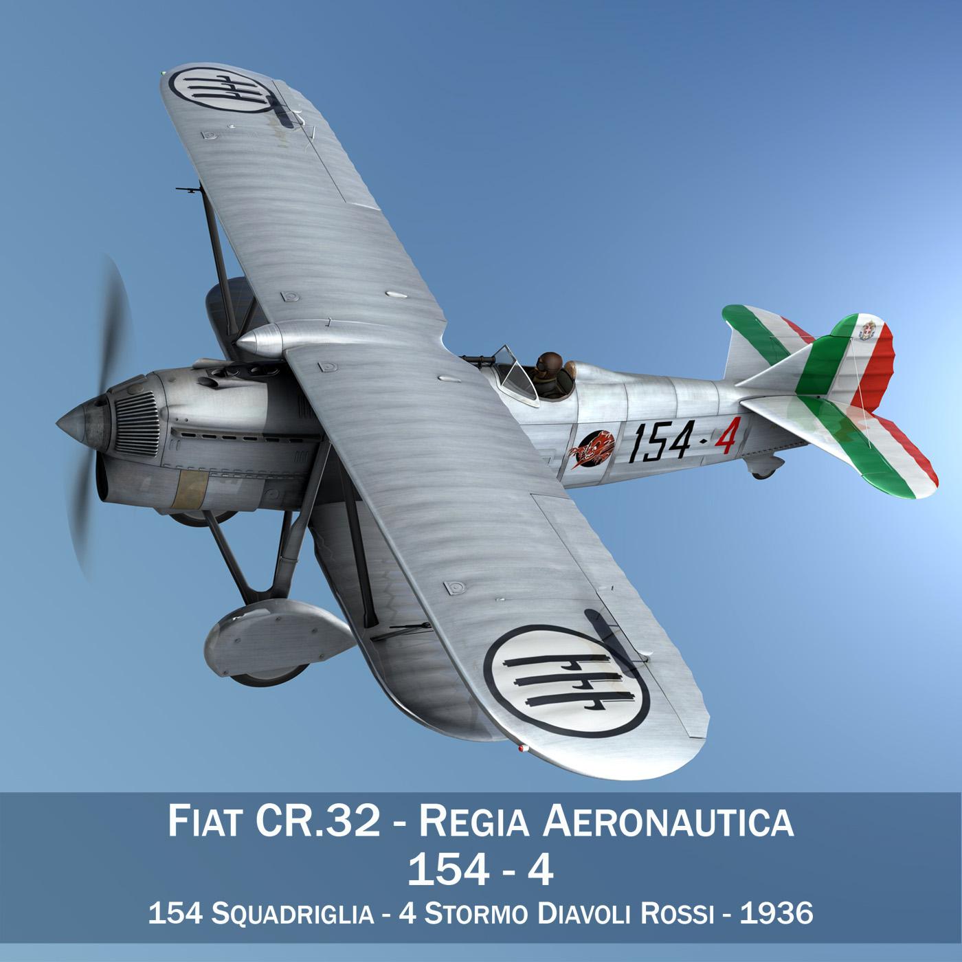 fiat cr.32 - Италийн агаарын хүчний - 154 к squadriglia 3d загвар fbx c4d lwo obj 268128