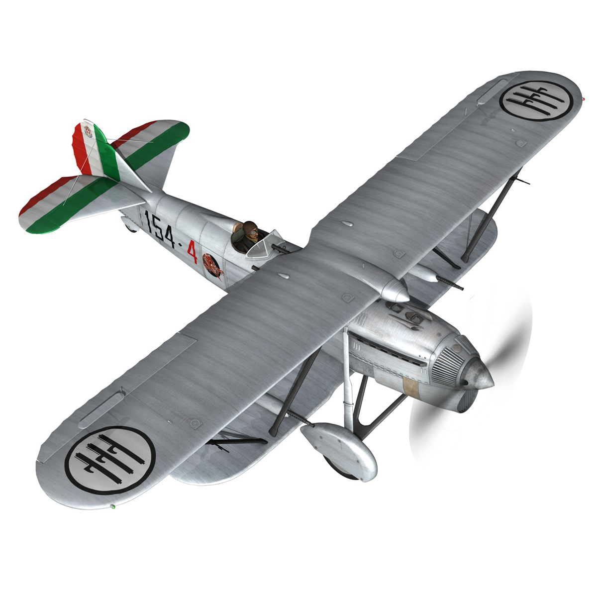 fiat cr.32 – italy airforce – 154 squadriglia 3d model fbx c4d lwo obj 268130