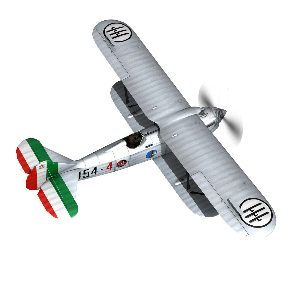 fiat cr.32 – italy airforce – 154 squadriglia 3d model fbx c4d lwo obj 268132