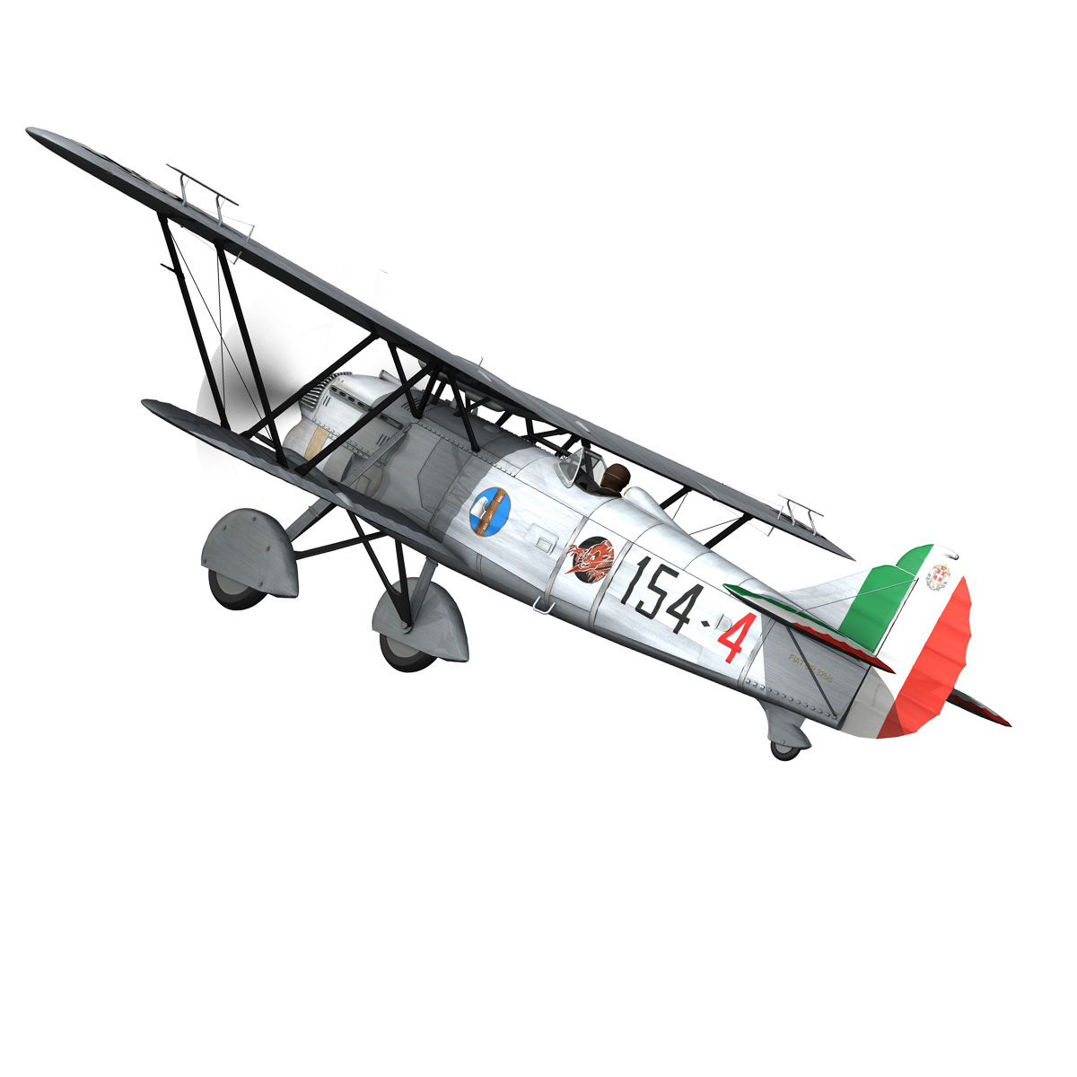 fiat cr.32 – italy airforce – 154 squadriglia 3d model fbx c4d lwo obj 268133
