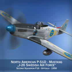 North American P-51D Mustang - Swedisch Airforce 3d model high poly virtual reality fbx c4d lwo lws lw obj