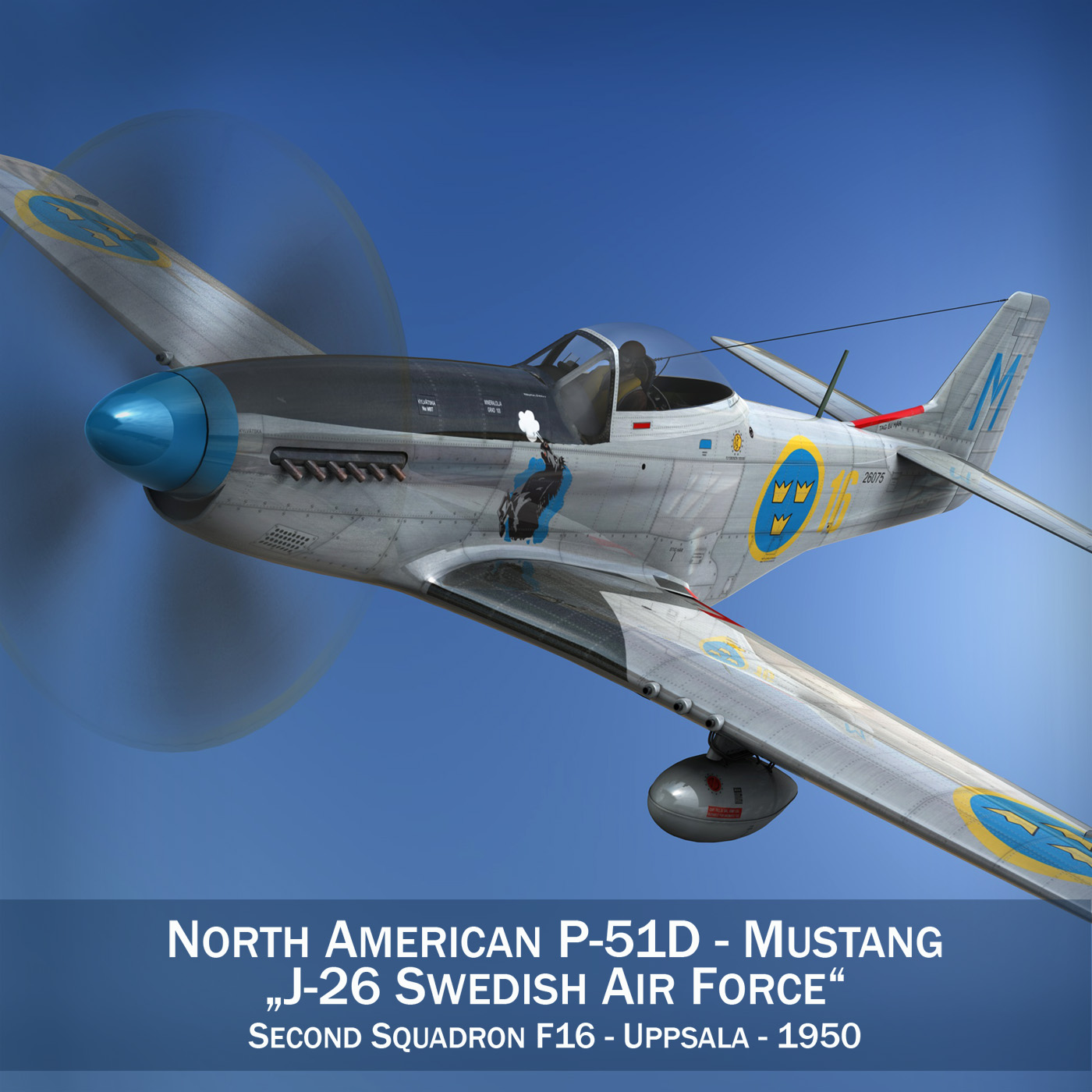 north american p-51d mustang – swedisch airforce 3d model fbx c4d lwo obj 268226