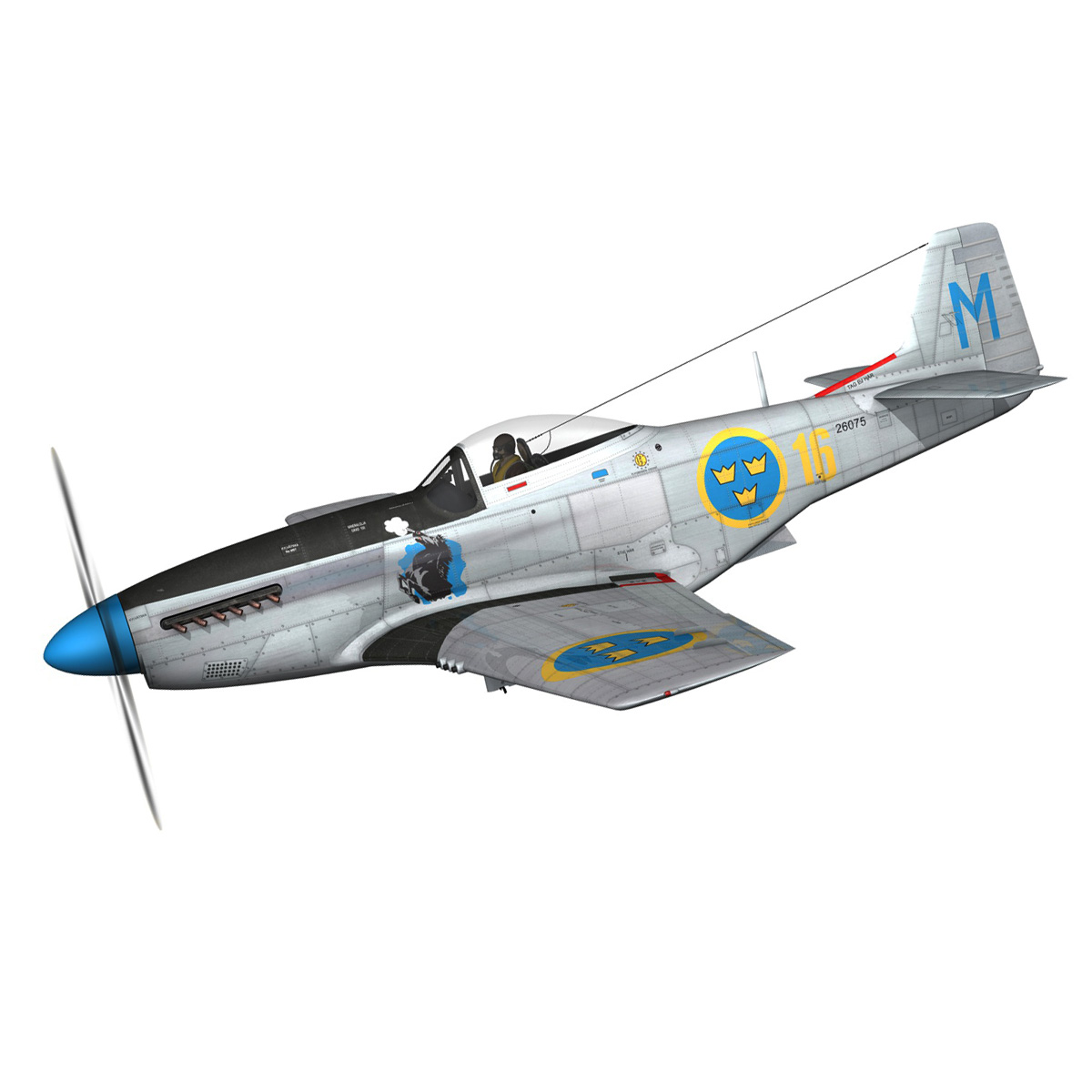 north american p-51d mustang – swedisch airforce 3d model fbx c4d lwo obj 268227