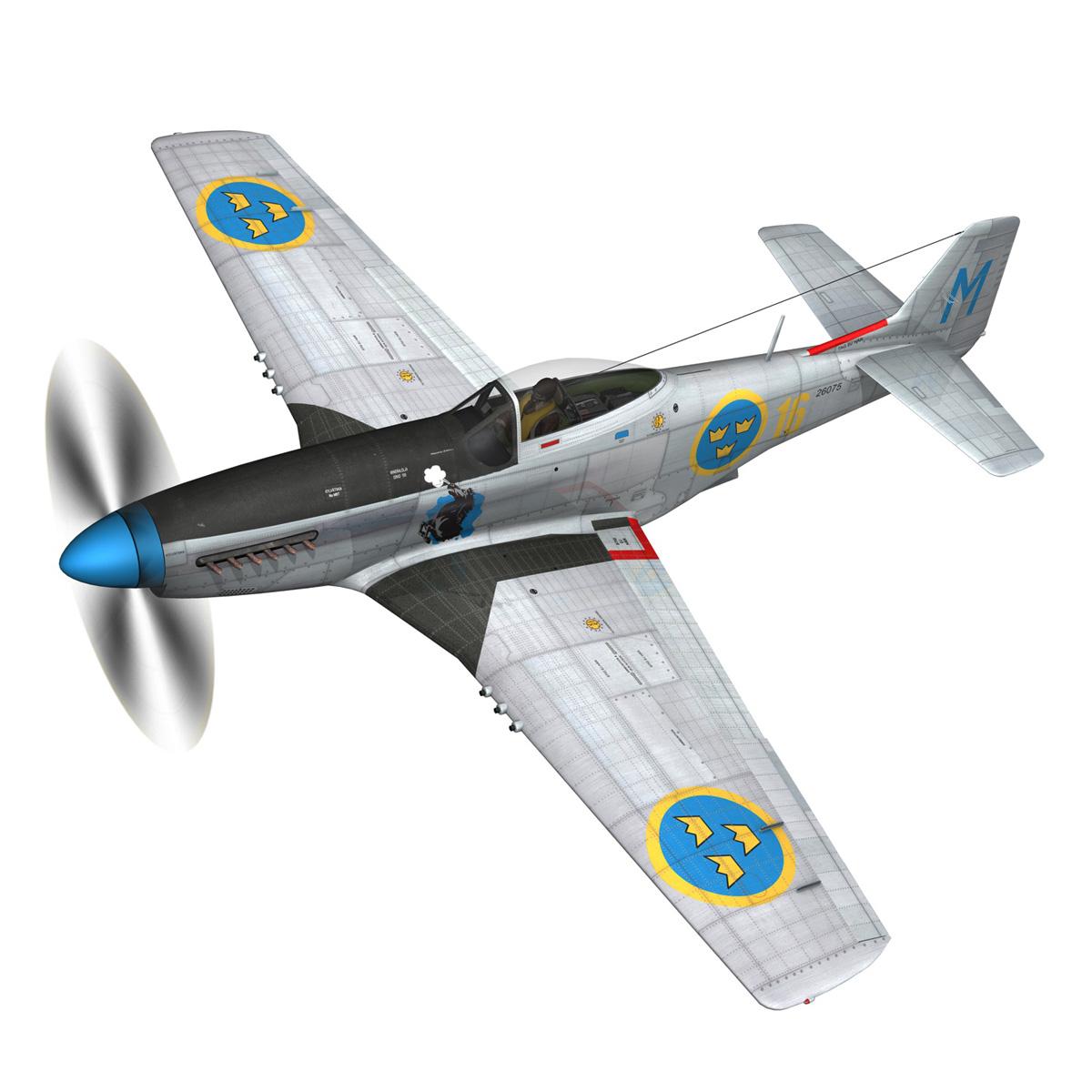 north american p-51d mustang – swedisch airforce 3d model fbx c4d lwo obj 268228