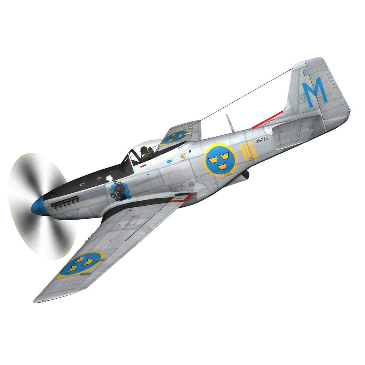 north american p-51d mustang – swedisch airforce 3d model fbx c4d lwo obj 268229