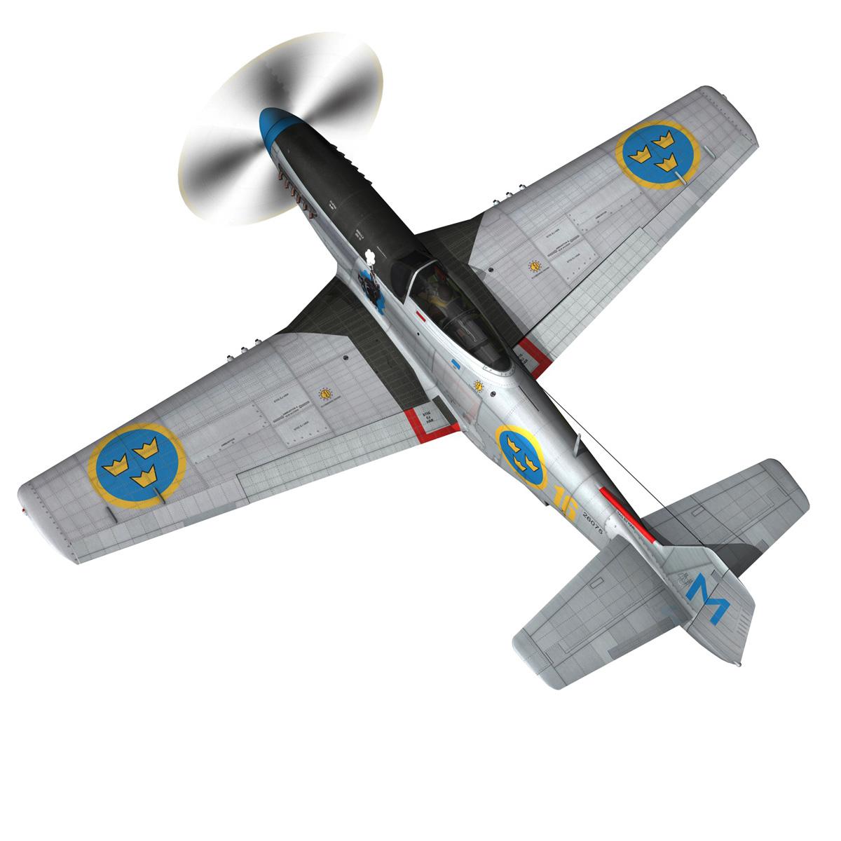 north american p-51d mustang – swedisch airforce 3d model fbx c4d lwo obj 268230