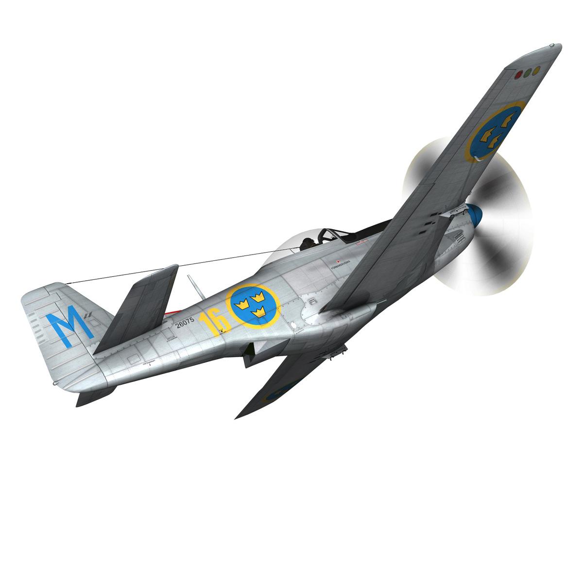 north american p-51d mustang – swedisch airforce 3d model fbx c4d lwo obj 268231