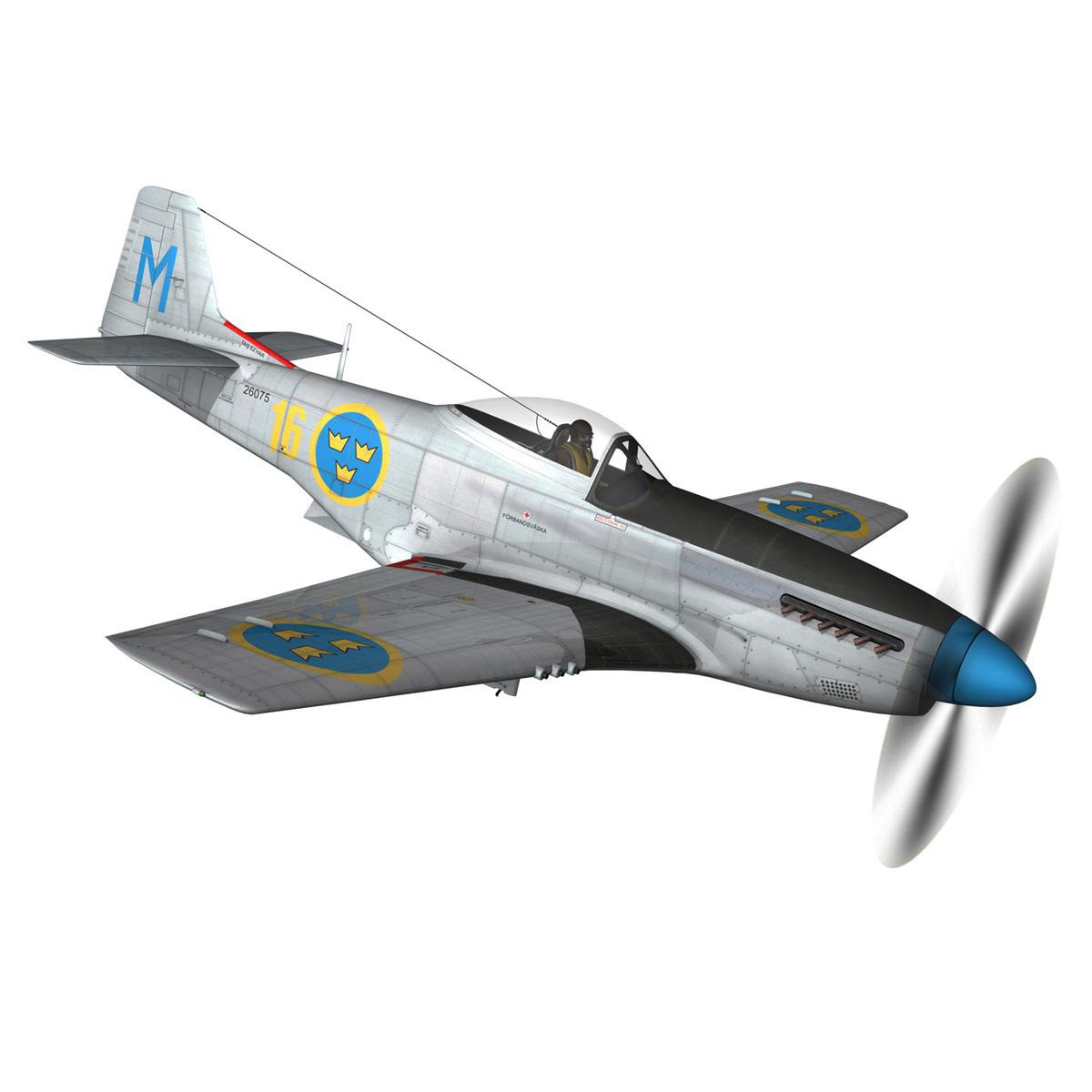 north american p-51d mustang – swedisch airforce 3d model fbx c4d lwo obj 268232