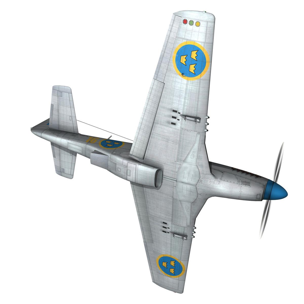 north american p-51d mustang – swedisch airforce 3d model fbx c4d lwo obj 268233