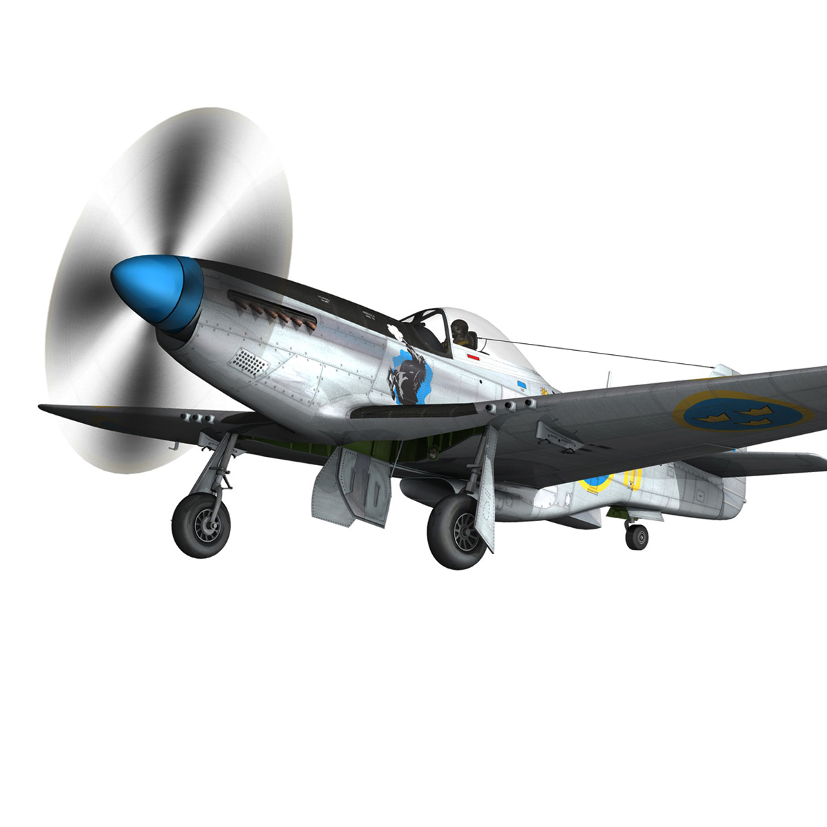 north american p-51d mustang – swedisch airforce 3d model fbx c4d lwo obj 268234