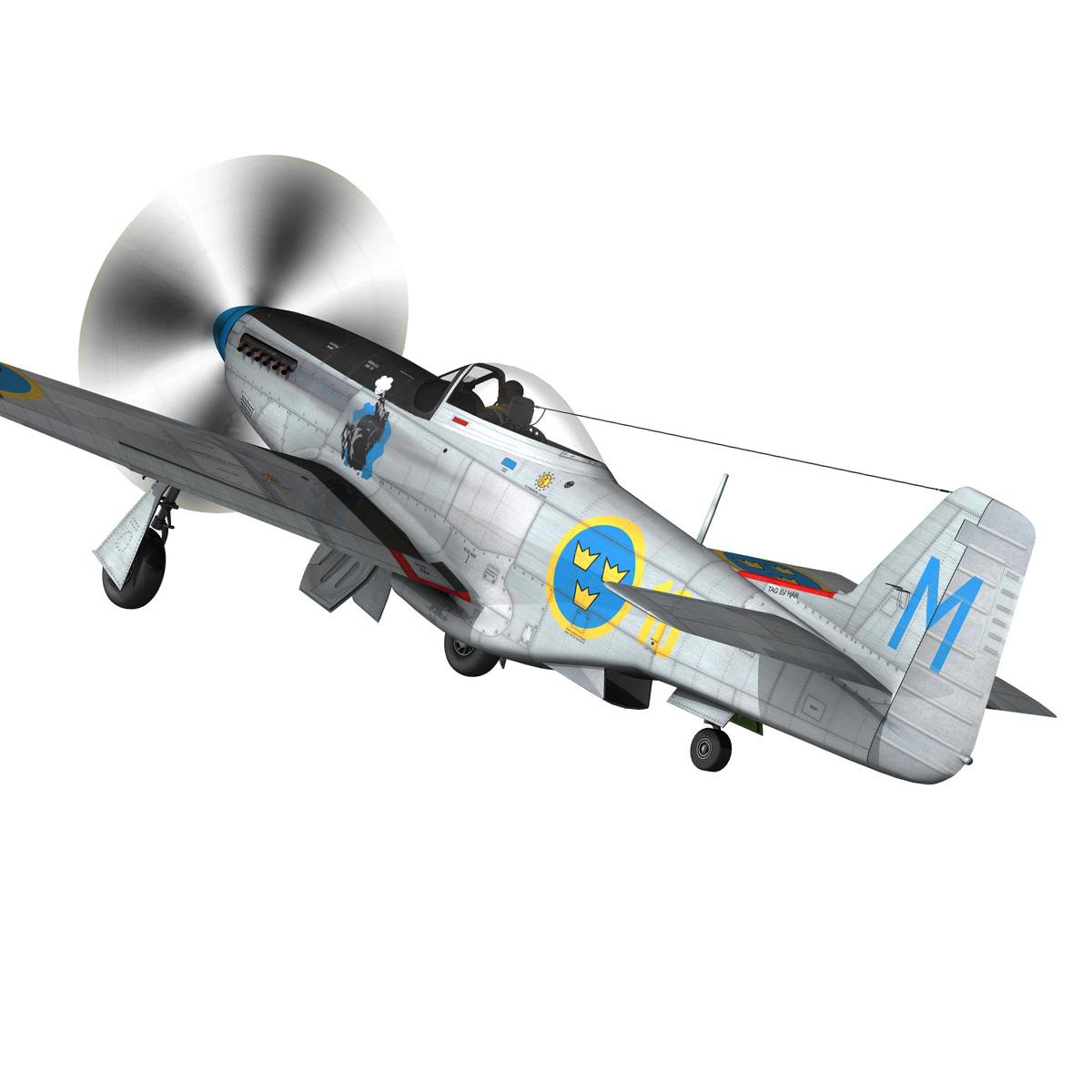 north american p-51d mustang – swedisch airforce 3d model fbx c4d lwo obj 268235