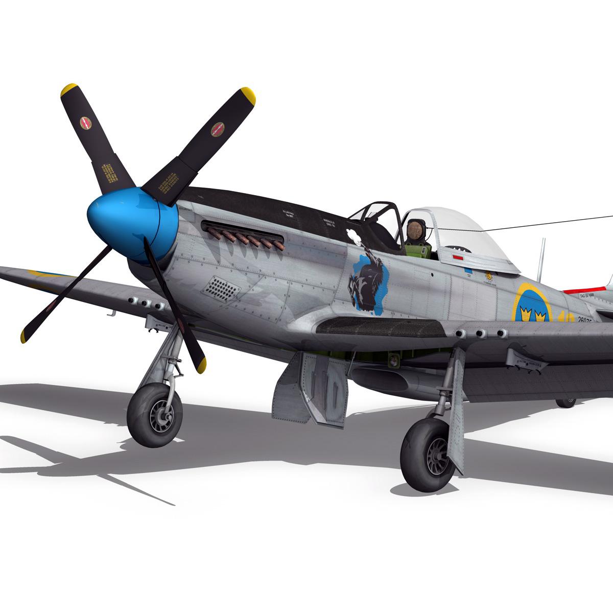 north american p-51d mustang – swedisch airforce 3d model fbx c4d lwo obj 268236