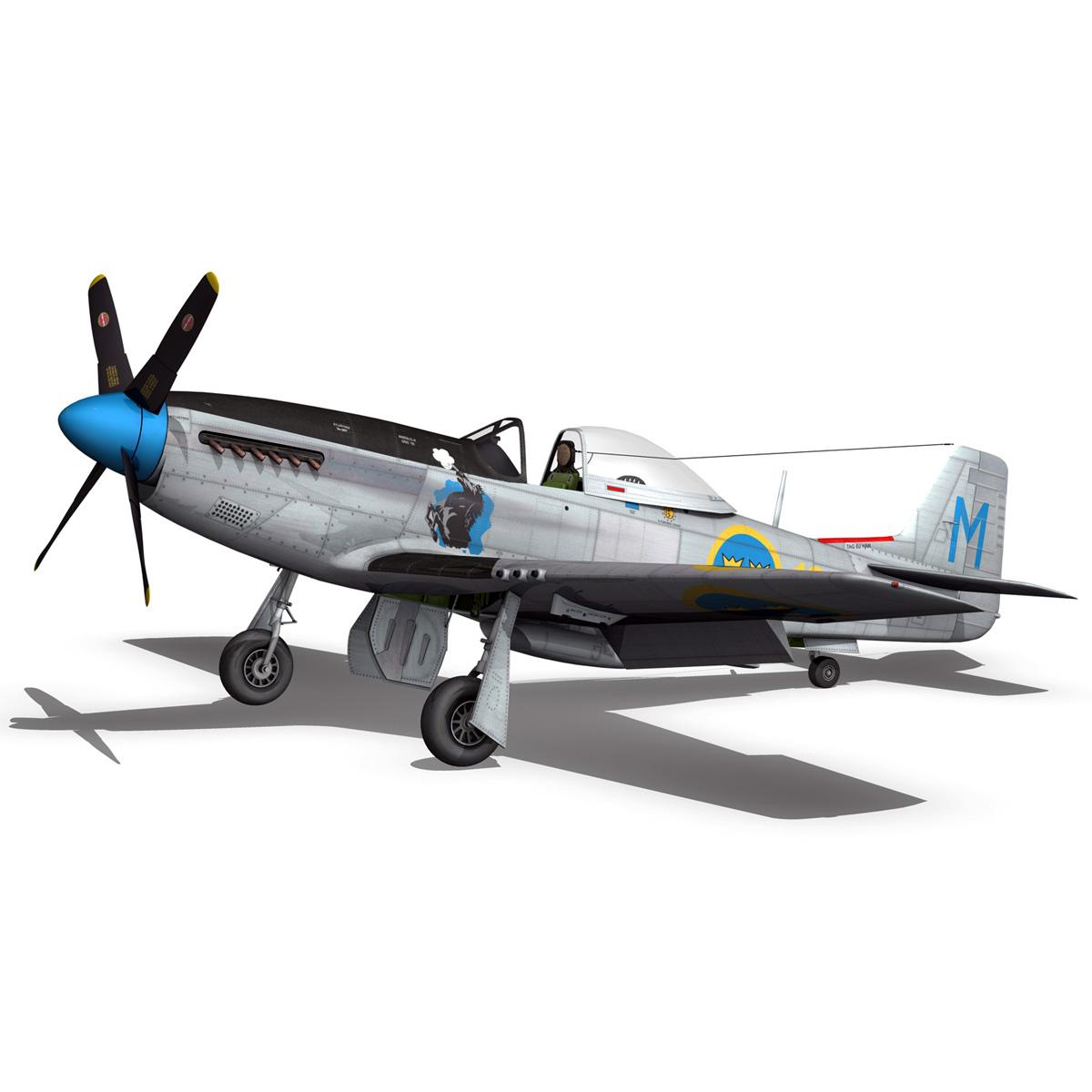 north american p-51d mustang – swedisch airforce 3d model fbx c4d lwo obj 268237