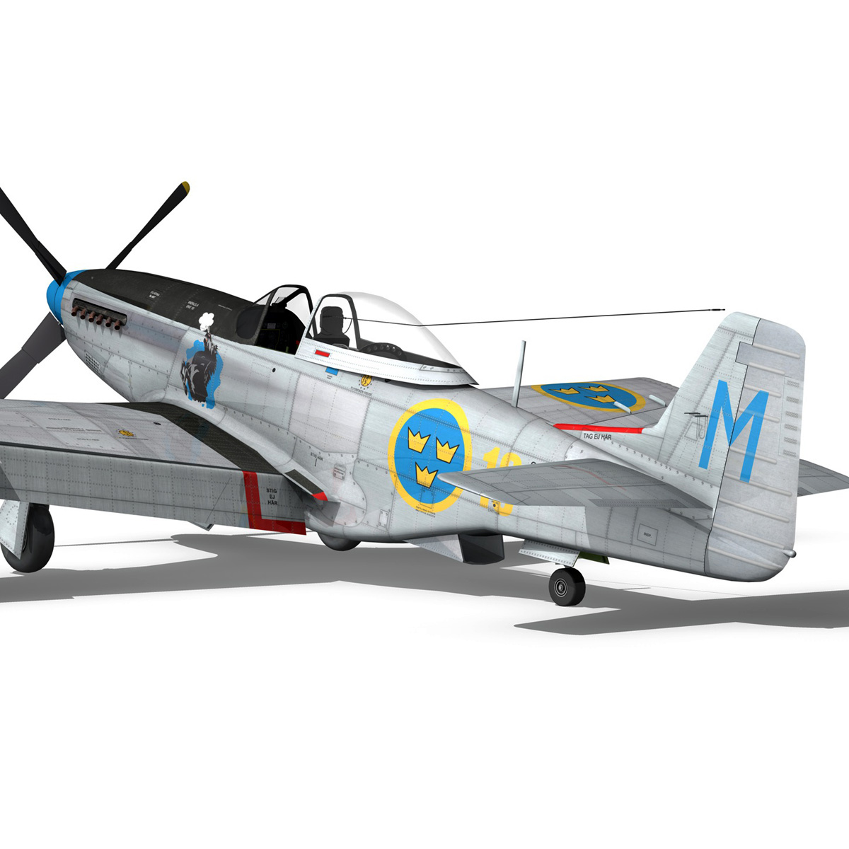 north american p-51d mustang – swedisch airforce 3d model fbx c4d lwo obj 268238