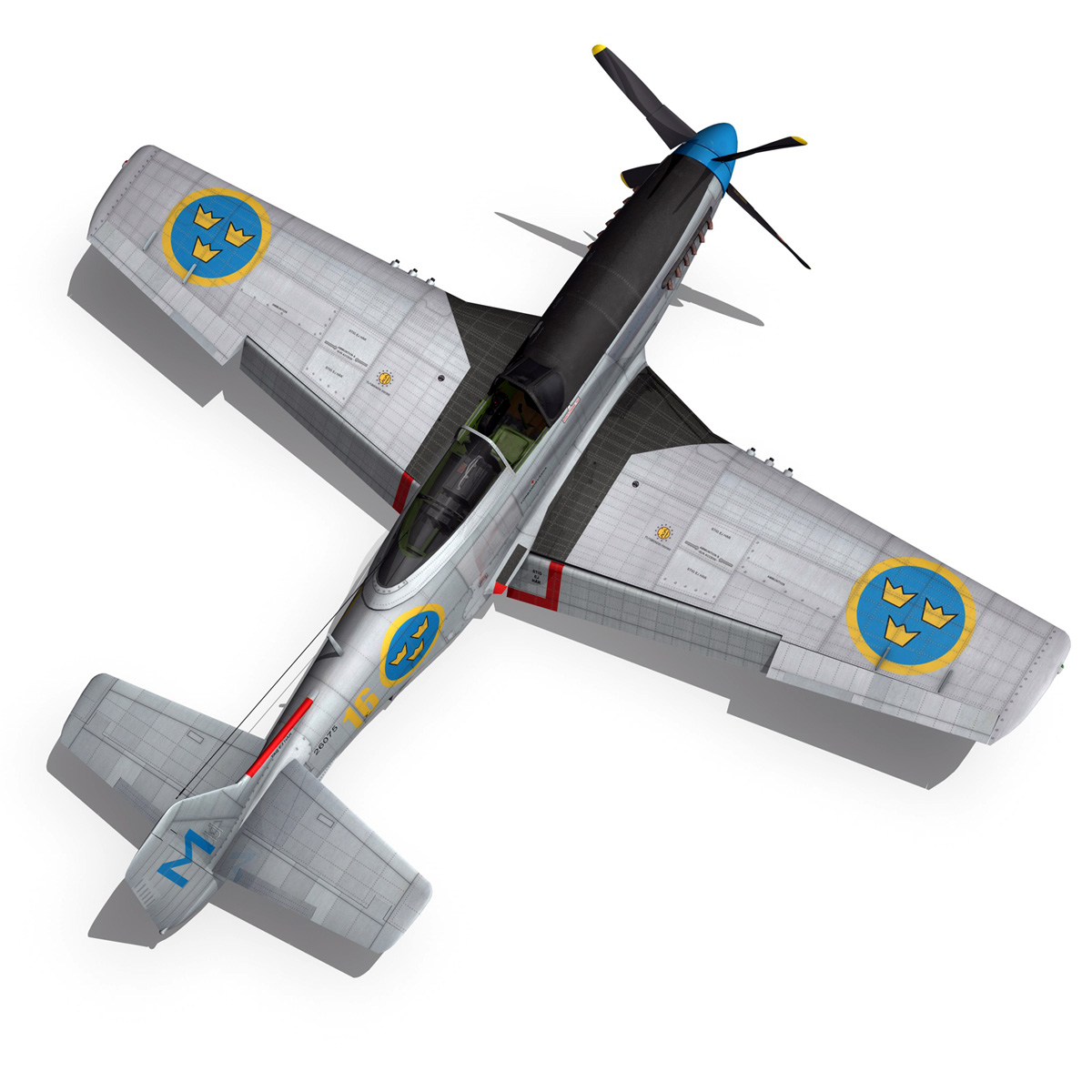 north american p-51d mustang – swedisch airforce 3d model fbx c4d lwo obj 268239