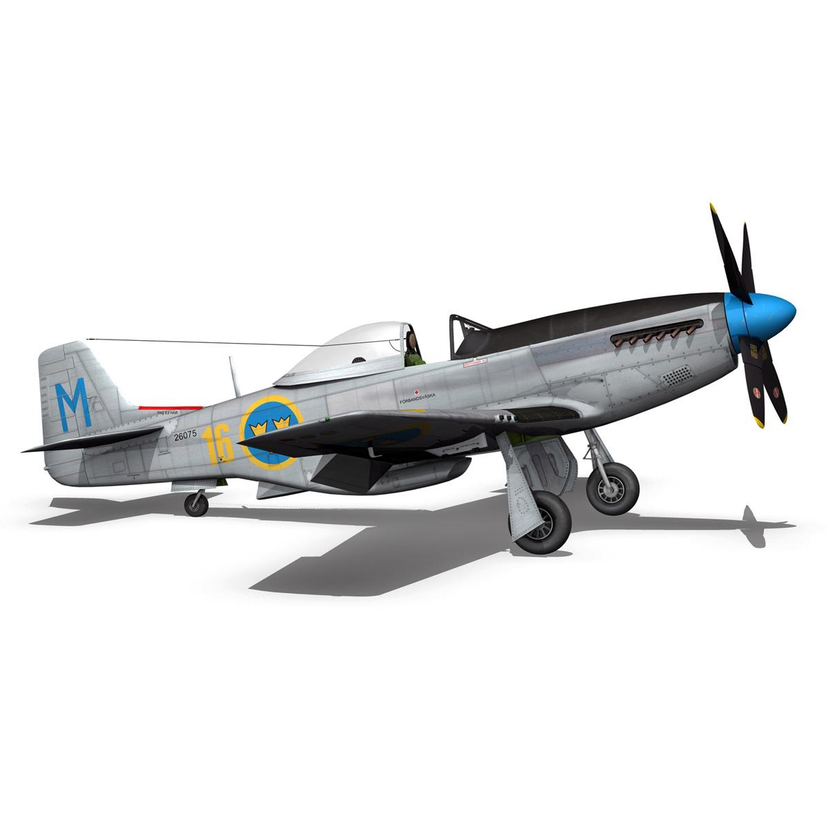 north american p-51d mustang – swedisch airforce 3d model fbx c4d lwo obj 268240