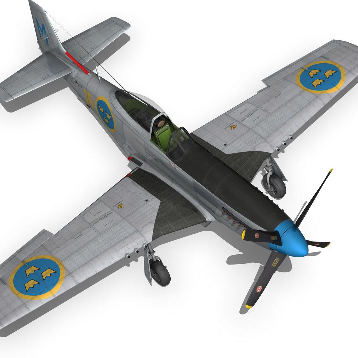 north american p-51d mustang – swedisch airforce 3d model fbx c4d lwo obj 268241