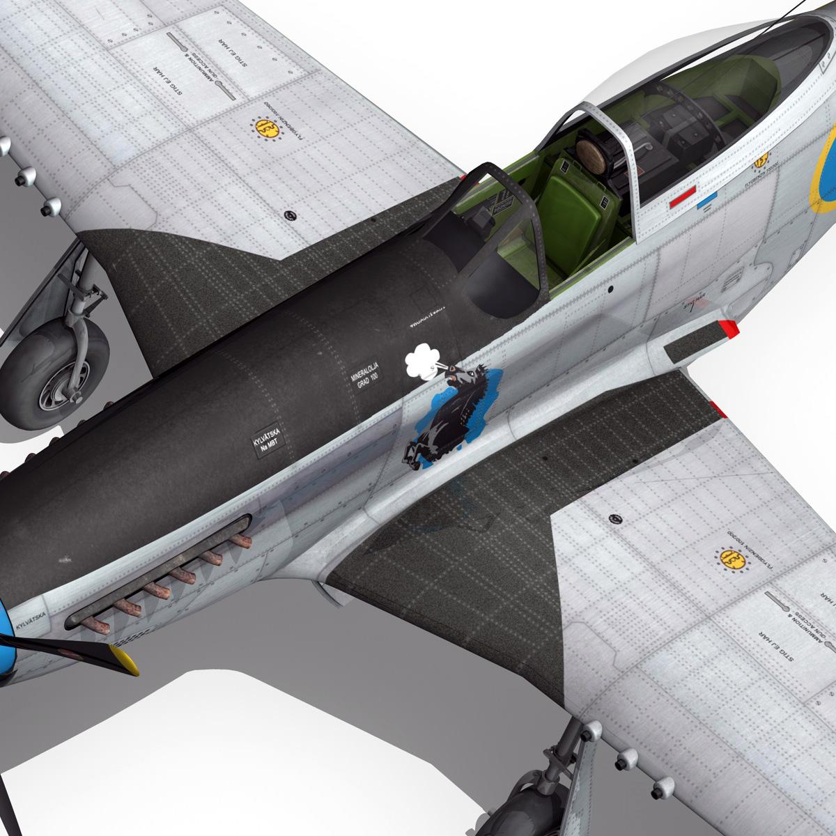 north american p-51d mustang – swedisch airforce 3d model fbx c4d lwo obj 268242