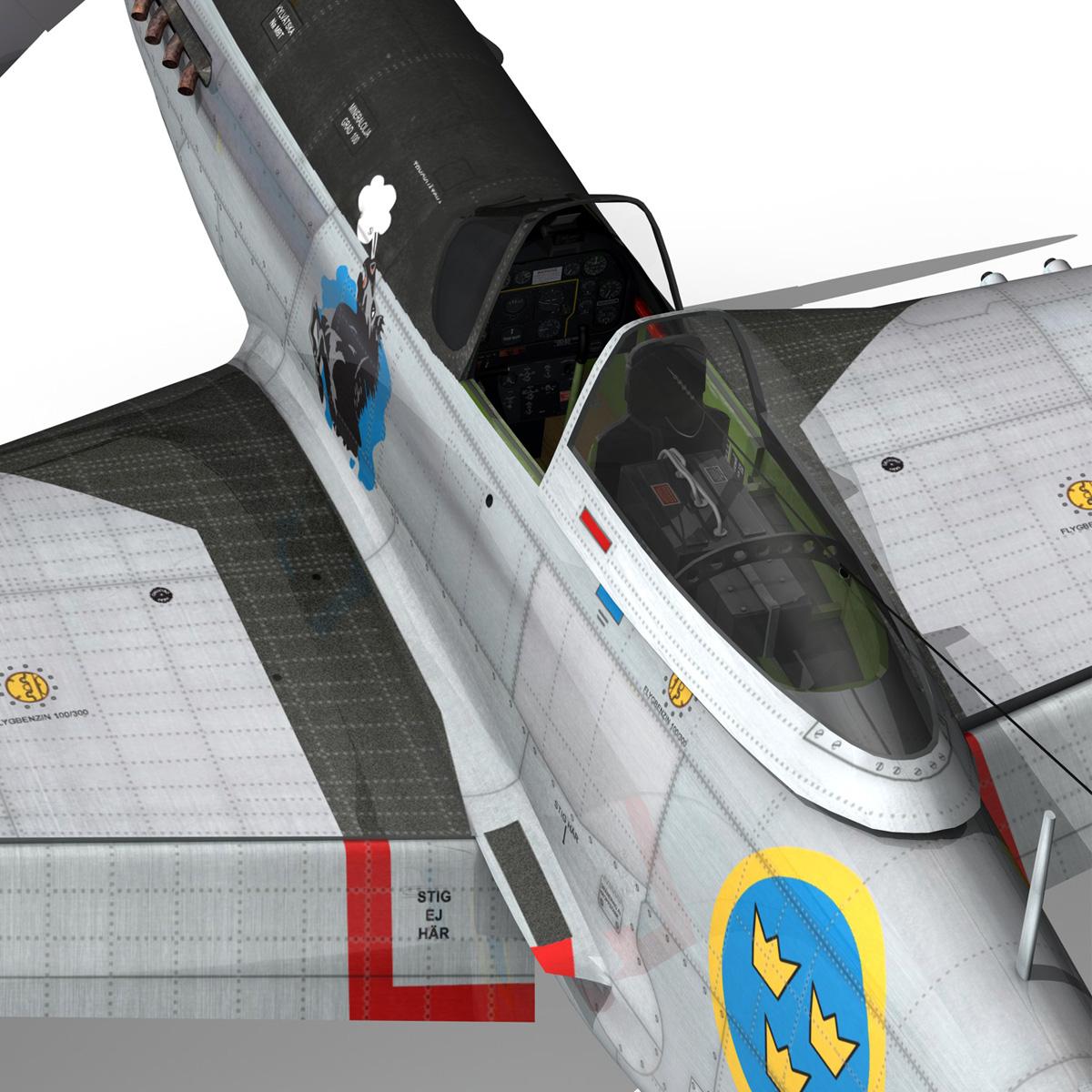 north american p-51d mustang – swedisch airforce 3d model fbx c4d lwo obj 268243