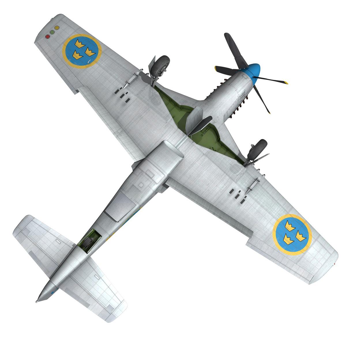 north american p-51d mustang – swedisch airforce 3d model fbx c4d lwo obj 268244