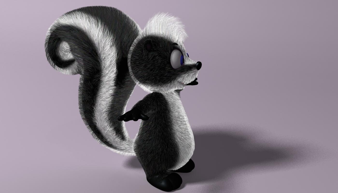 cartoon skunk rigged 3d model 3ds max fbx  obj 268279