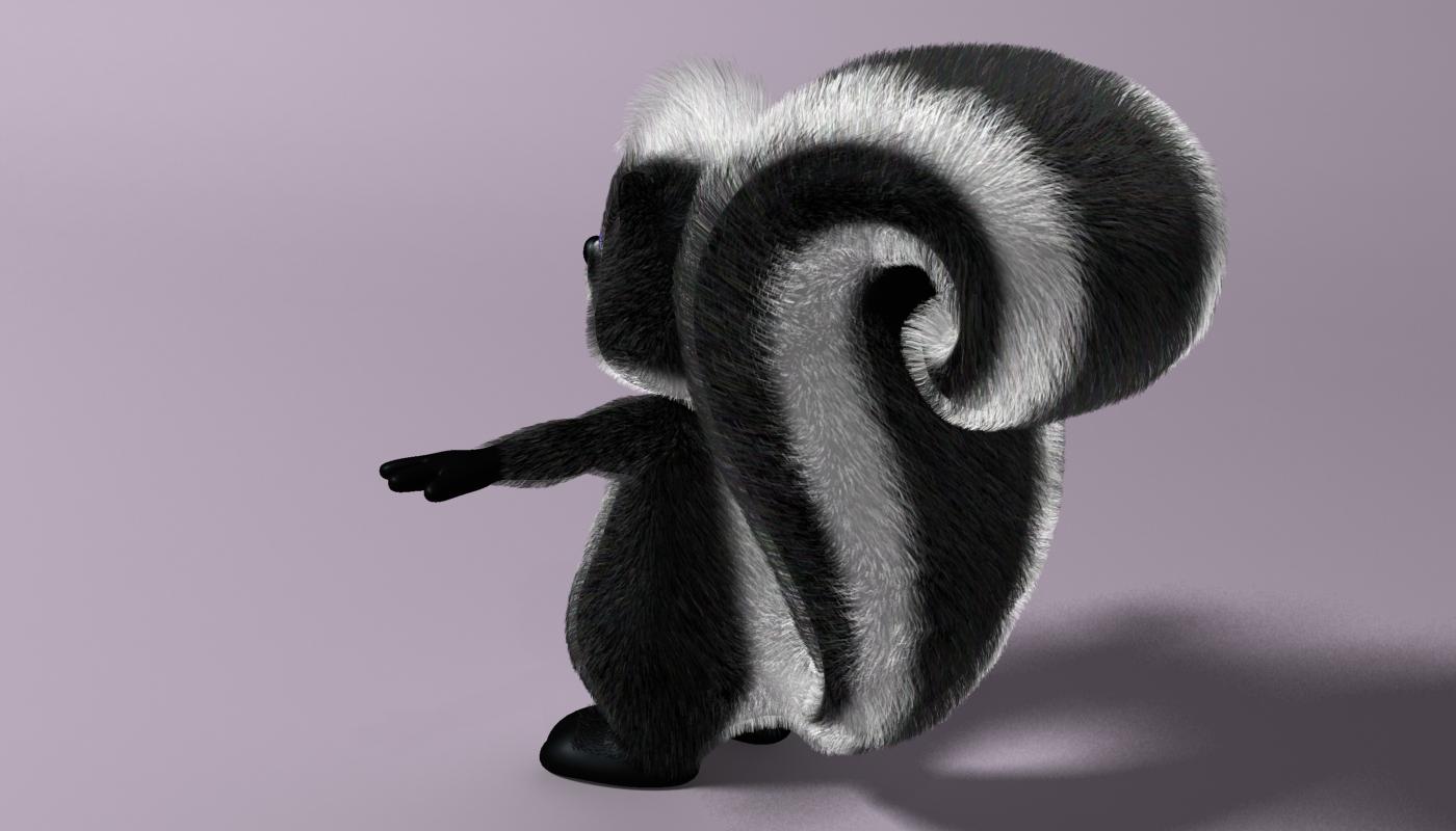 cartoon skunk rigged 3d model 3ds max fbx  obj 268280