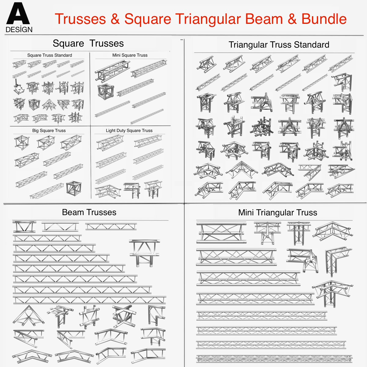 Square Triangular Beam Collection 170 Modular 3d model 3ds max dxf fbx c4d dae   obj Collada dae 268349
