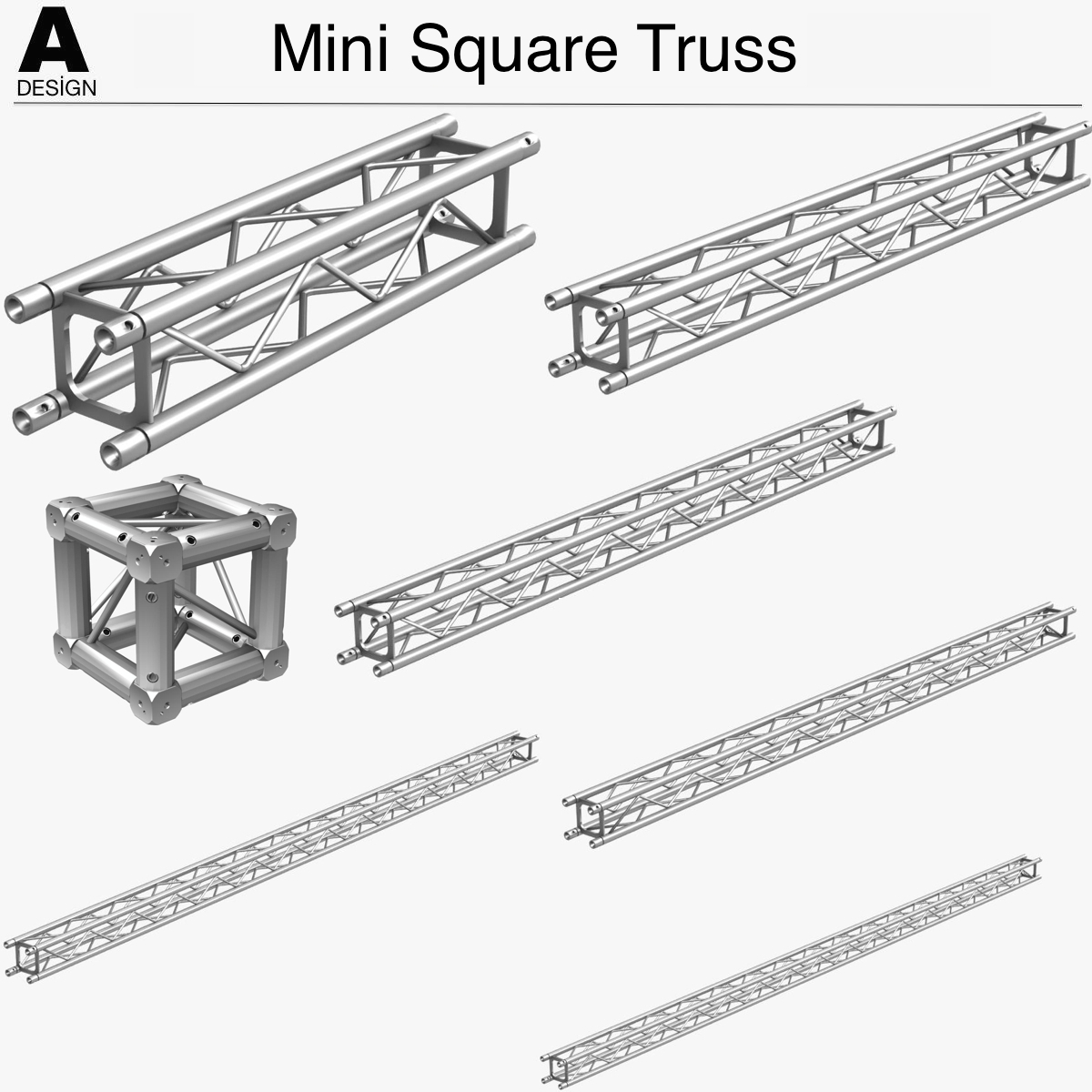 mini square truss (collection 7 modular pieces) 3d model 3ds max 3ds project alias studio dxf fbx c4d dae other png  texture obj 268512