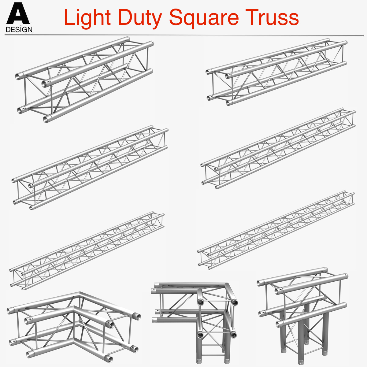 light duty square truss (collection 9 modular) 3d model 3ds max dxf fbx c4d dae  texture wrl wrz obj other 268514