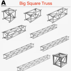Big Square Truss (Collection 10 Modular Pieces) 3d model 3d printing 3ds dxf fbx c4d Collada dae