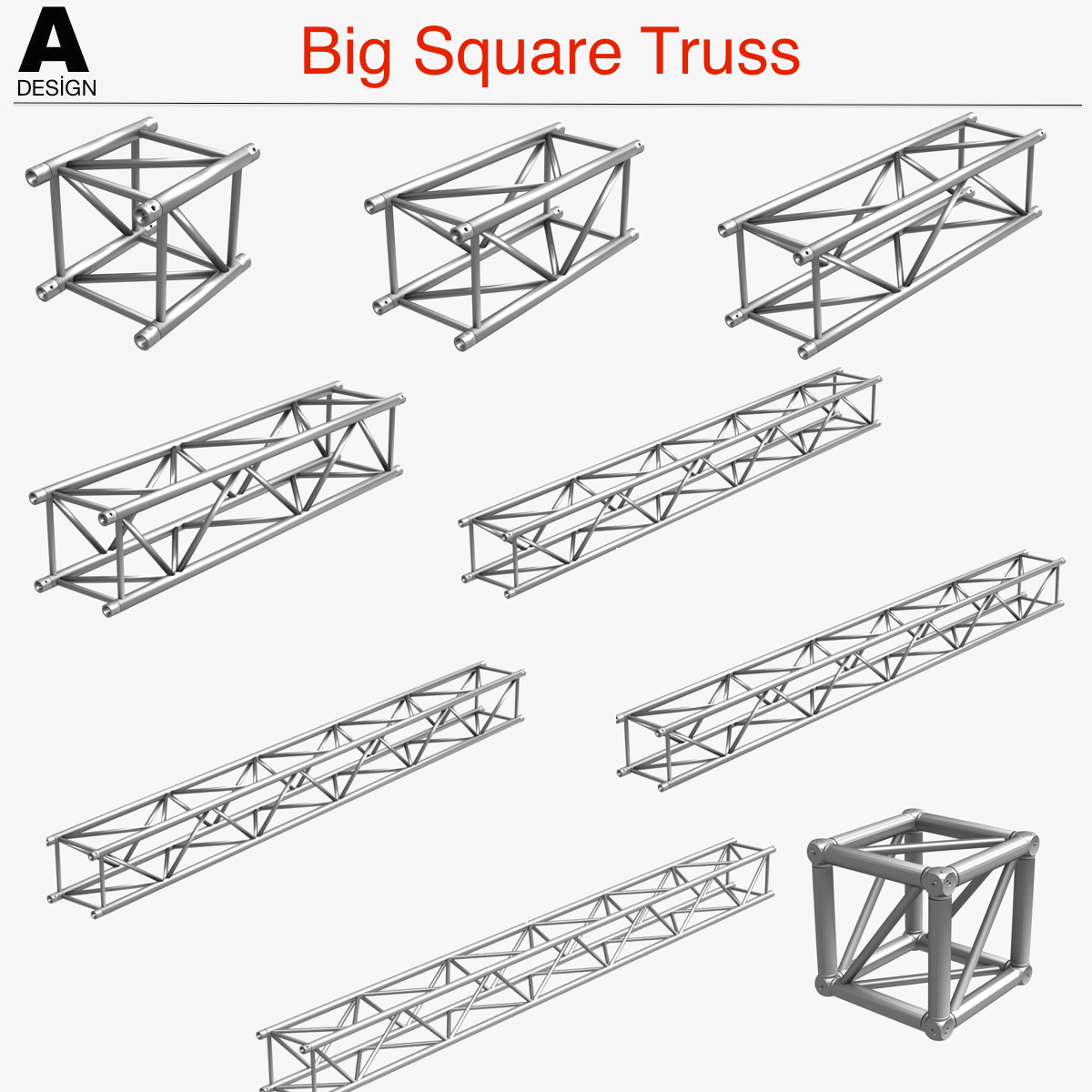 big square truss (collection 10 modular pieces) 3d model 3ds dxf fbx c4d dae  268539