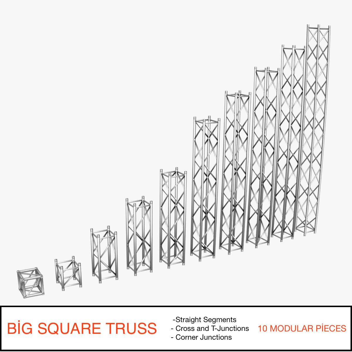 big square truss (collection 10 modular pieces) 3d model 3ds dxf fbx c4d dae  268540