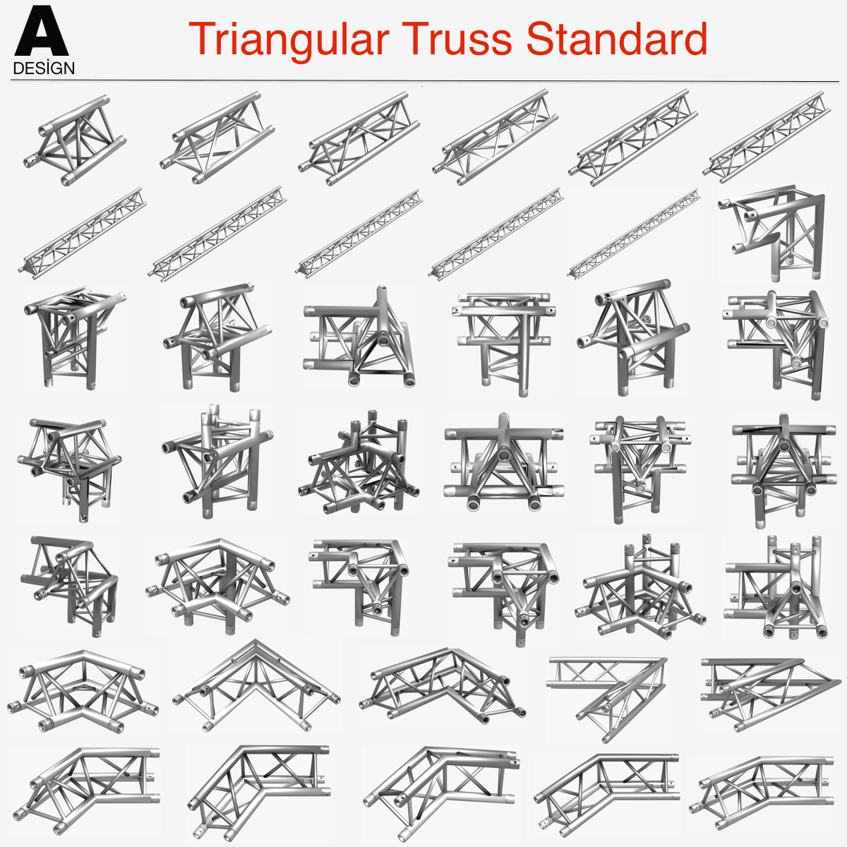 triangular truss standard (collection 41 modular) 3d model 3ds max dxf fbx c4d dae other  obj 268565