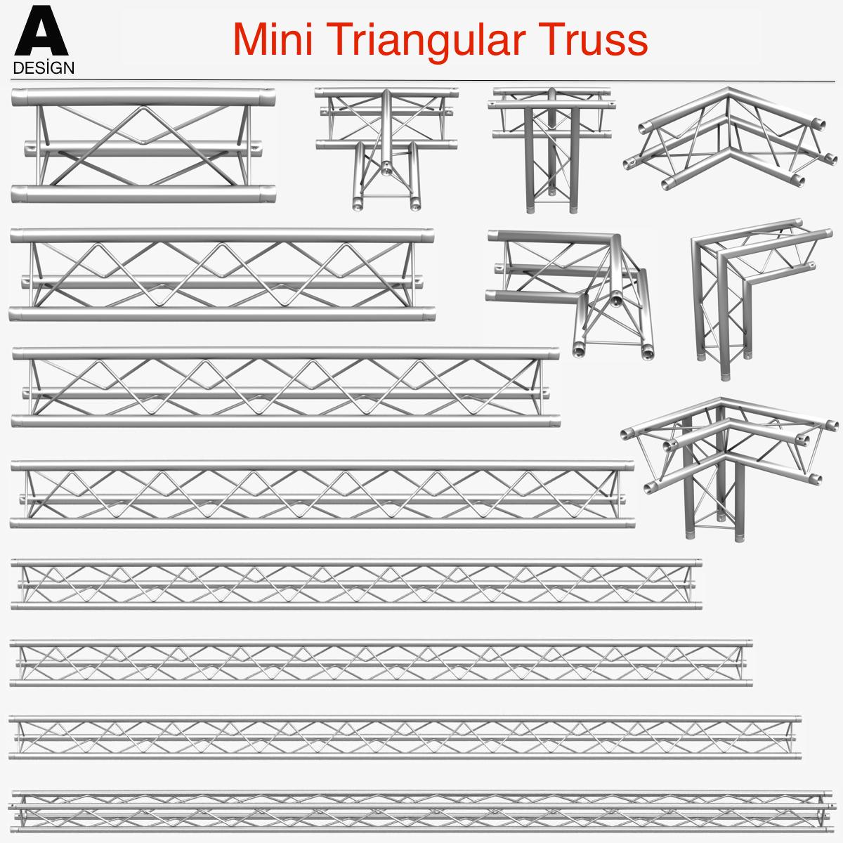 Mini Triangular Truss (Collection 14 Modular) 3d model 3ds max dxf fbx c4d Collada dae  obj 268655