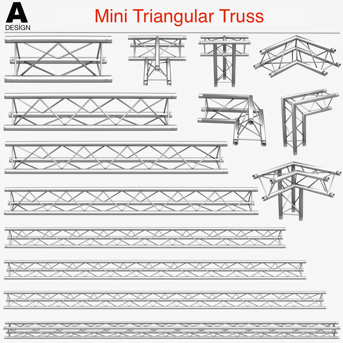 mini triangular truss (collection 14 modular) 3d model 3ds max dxf fbx c4d dae  obj 268655