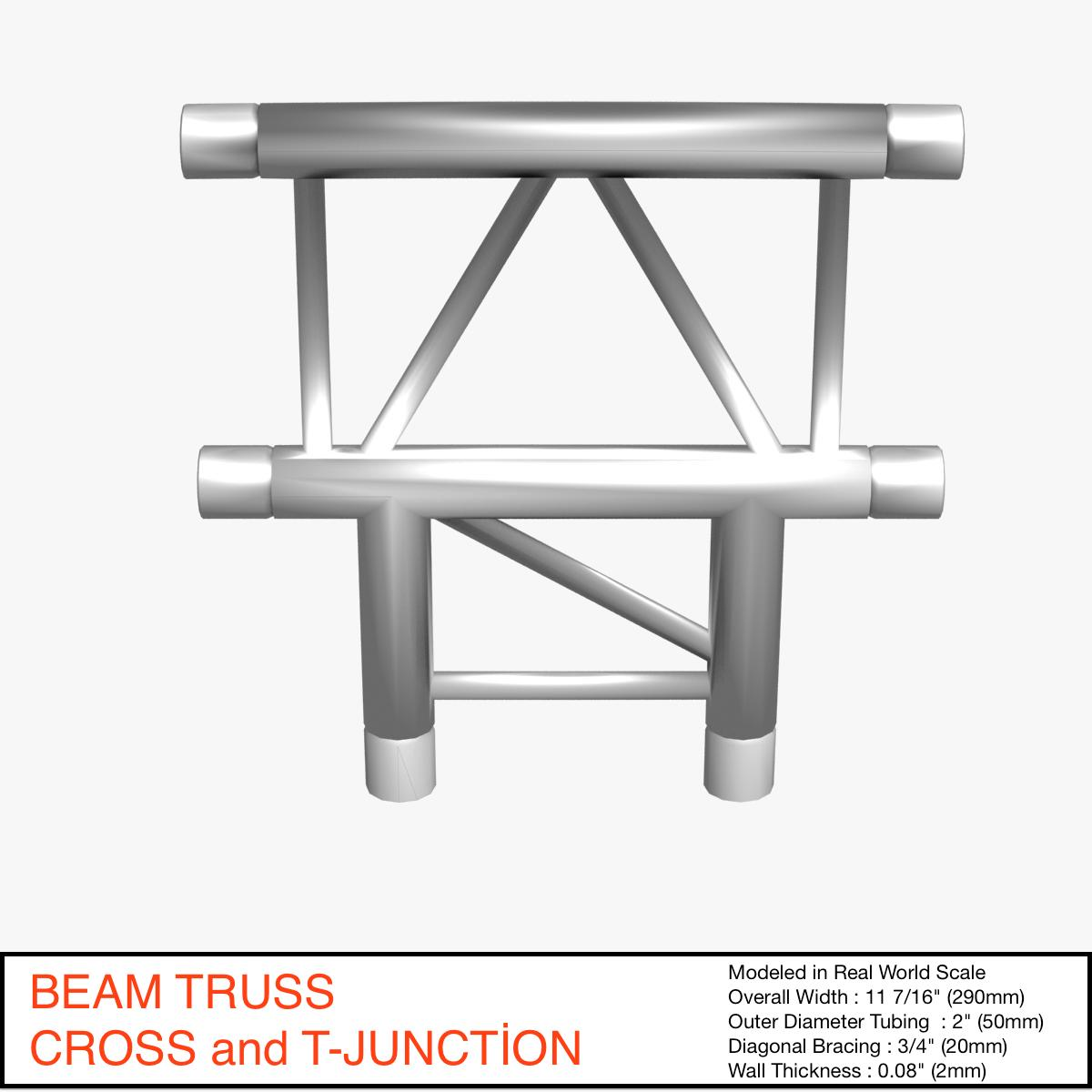 beam truss cross and t junction 134 3d model 3ds max dxf fbx c4d  obj 268776