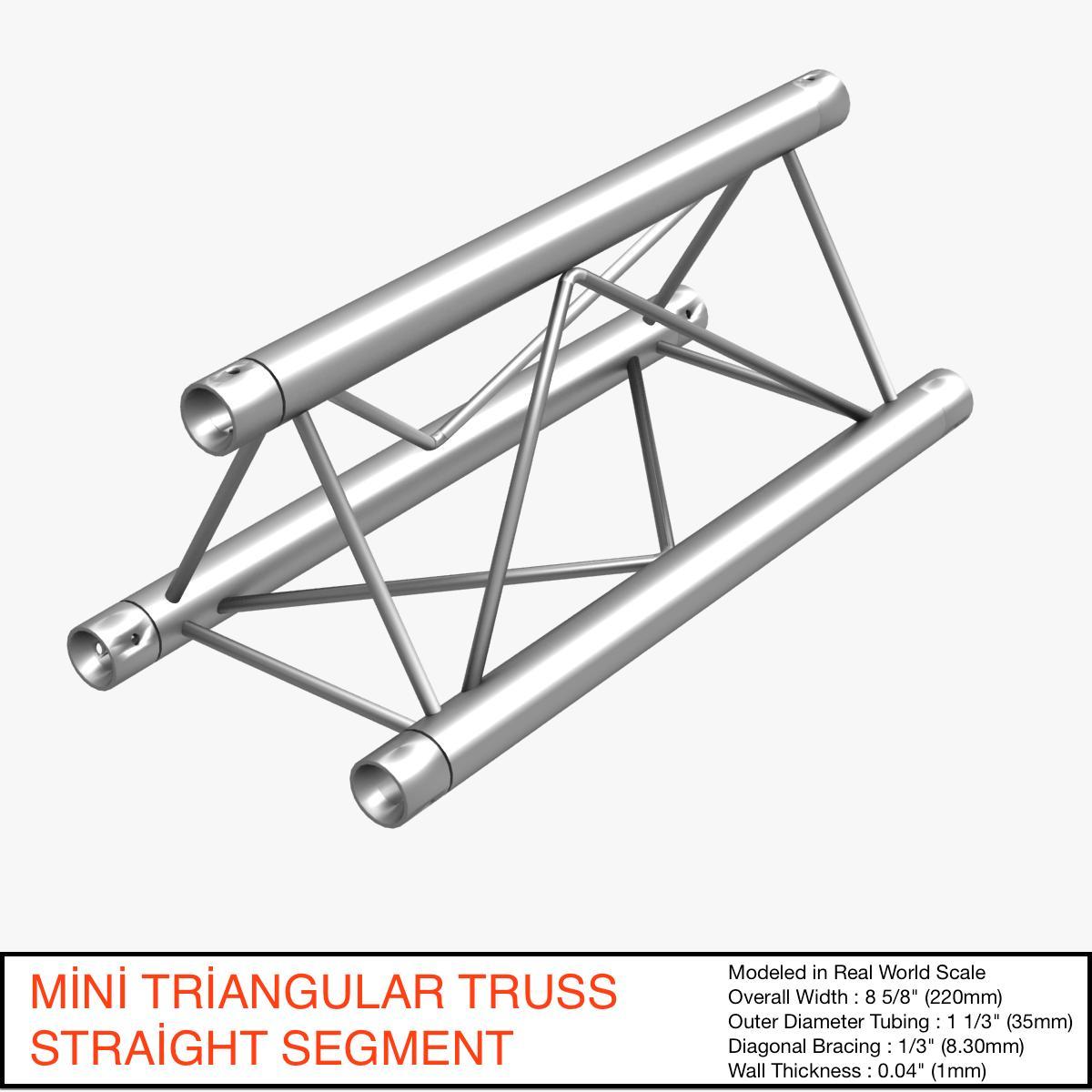 Mini Triangular Truss Straight Segment 111 3d model 3ds max dxf fbx c4d   obj 268874