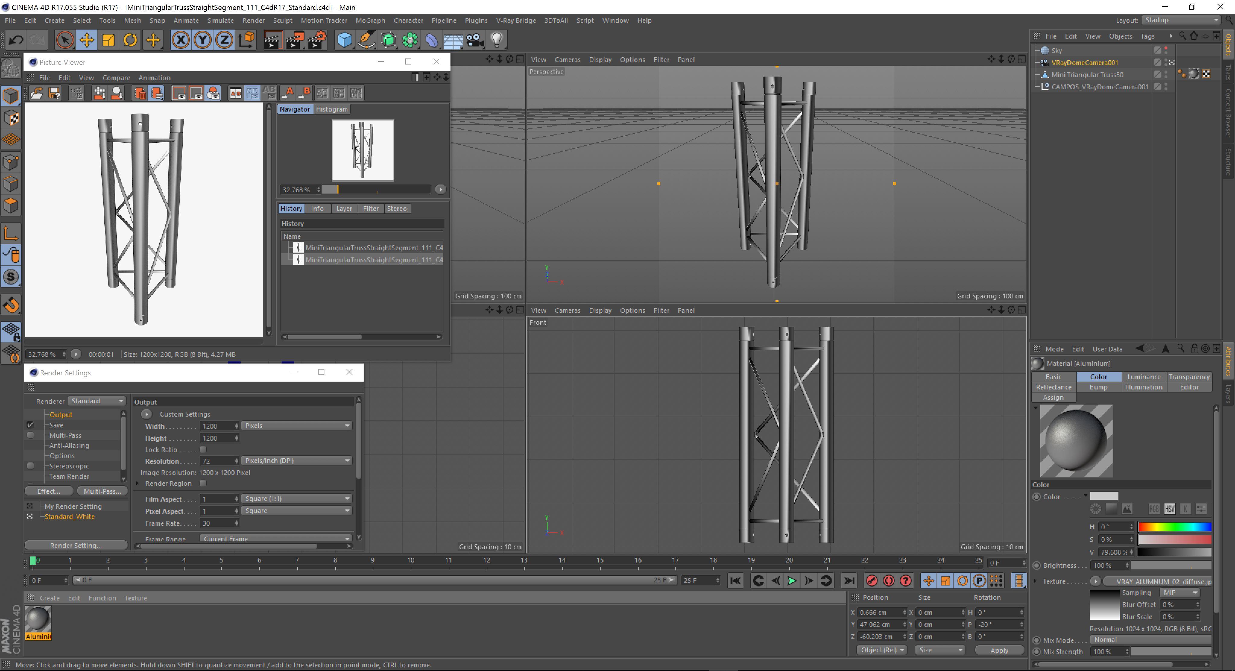 mini triangular truss straight segment 111 3d model 3ds max dxf fbx c4d  obj other 268881