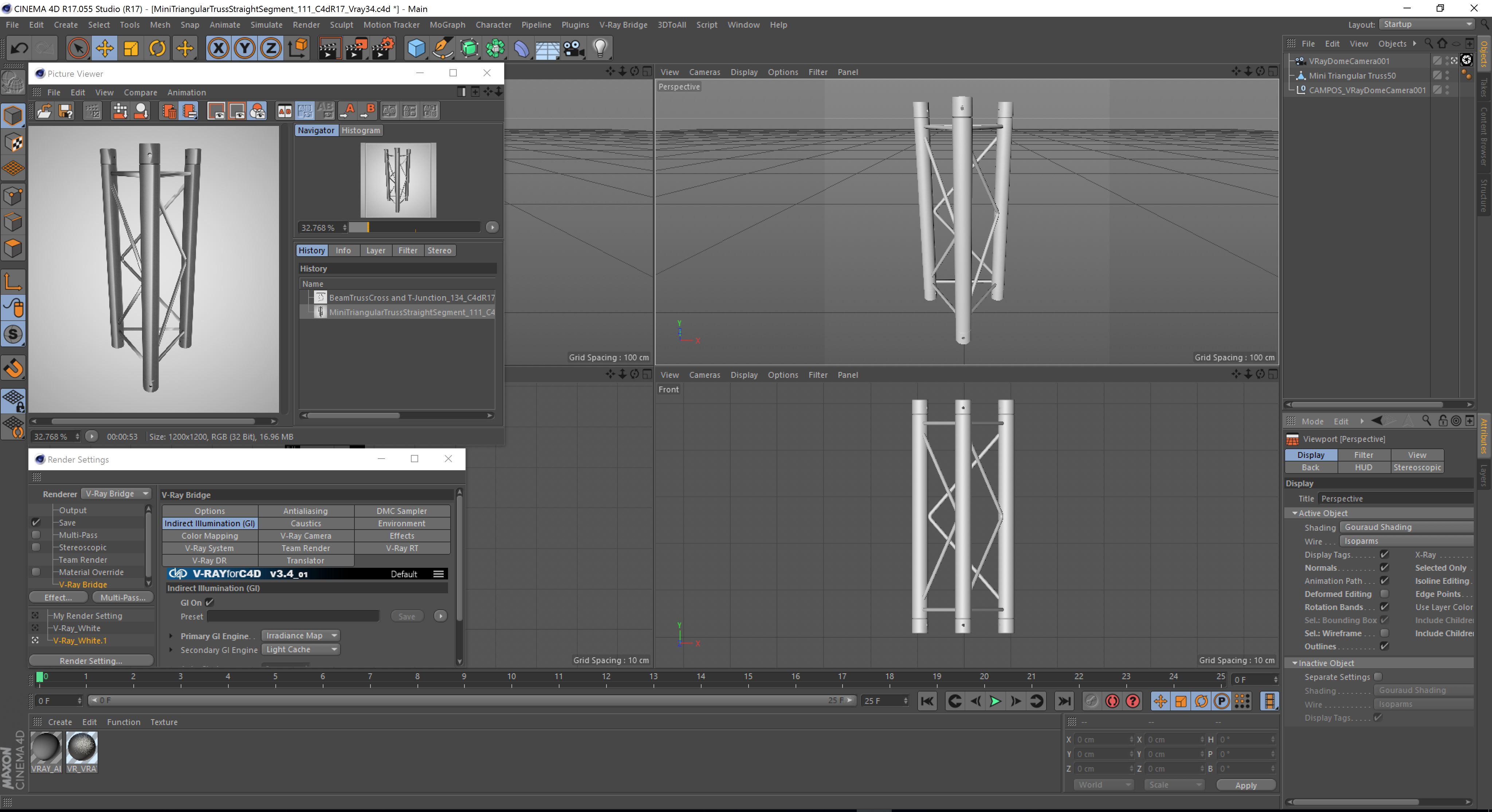 mini triangular truss straight segment 111 3d model 3ds max dxf fbx c4d  obj other 268882