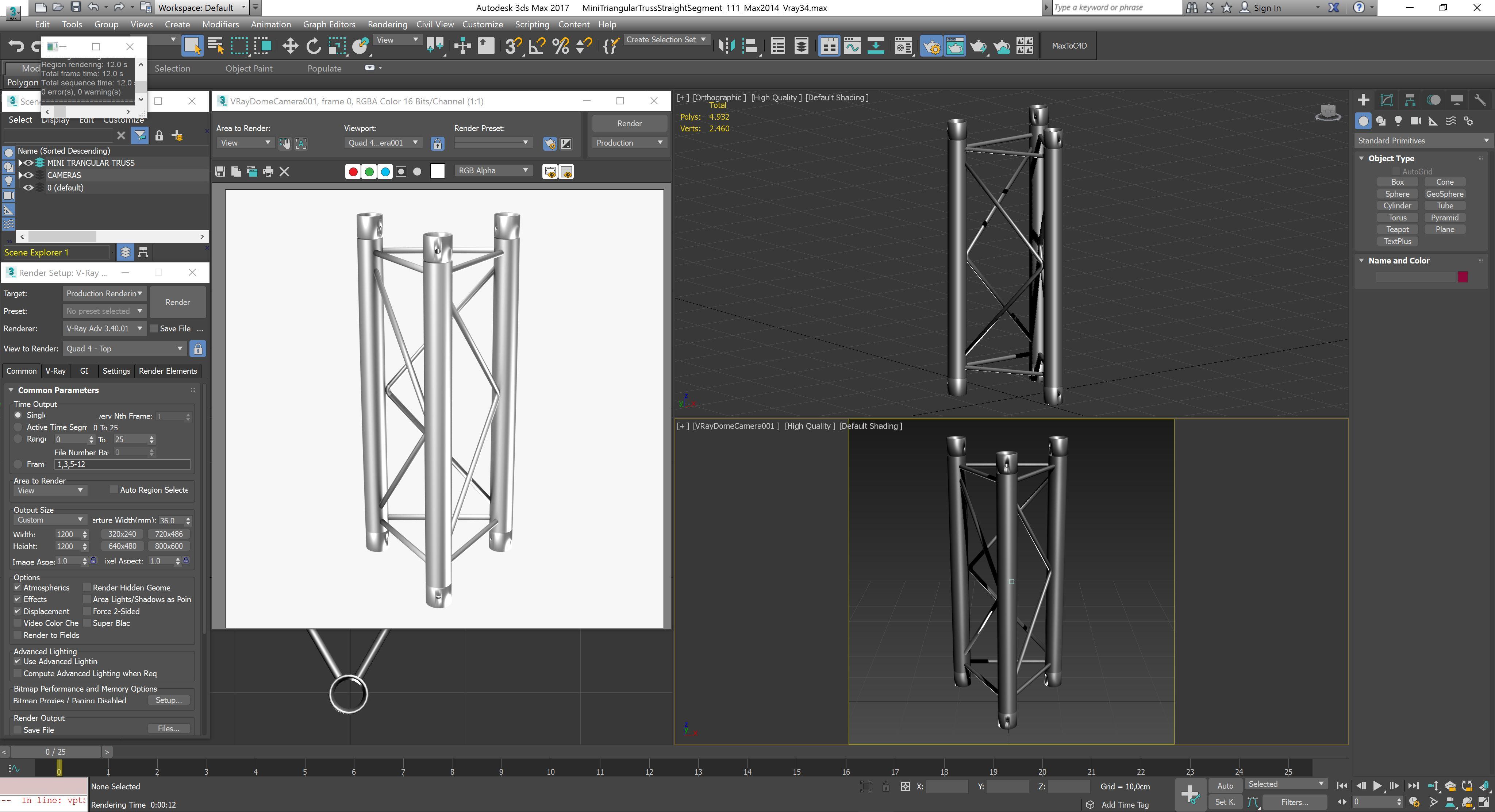 mini triangular truss straight segment 111 3d model 3ds max dxf fbx c4d  obj other 268883