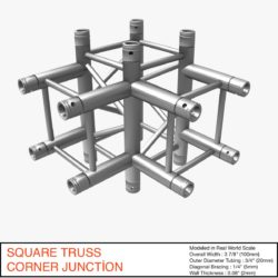 Square Truss Corner Junction 44 3d model 0